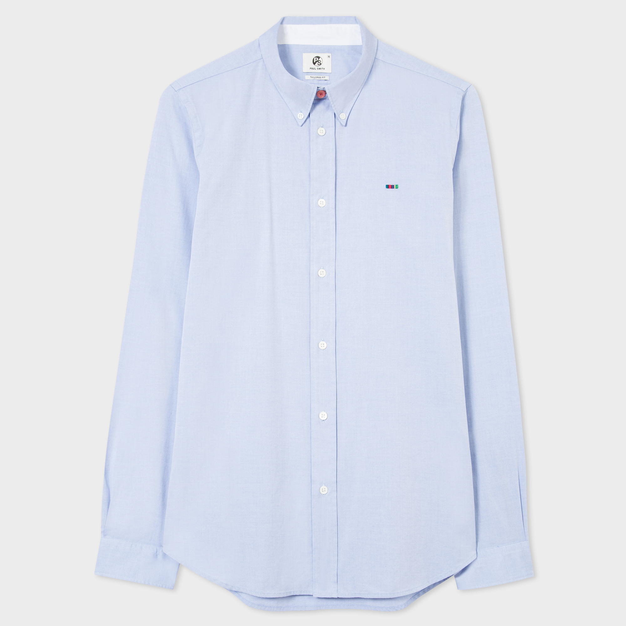 Paul Smith Men's Tailored-Fit Sky Blue Cotton Shirt With 'Cycle Stripe' Motif