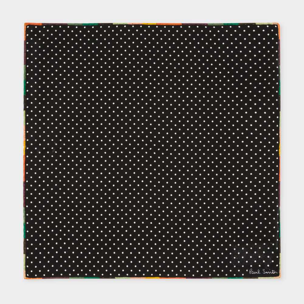 Paul Smith Men's Black Polka Dot Silk Pocket Square With 'Artist Stripe' Edge