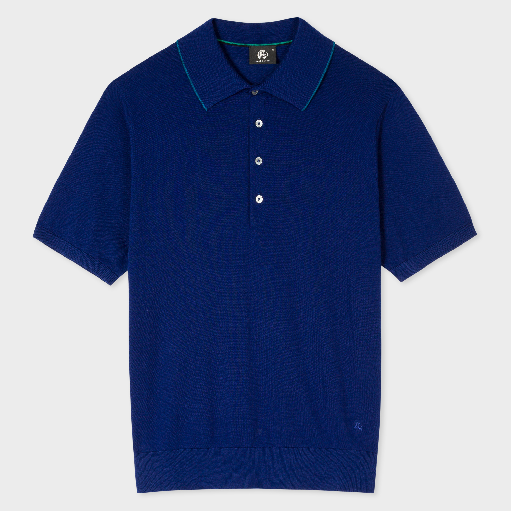 Paul Smith Men's Indigo Knitted Cotton Polo Shirt With Petrol Collar Tipping
