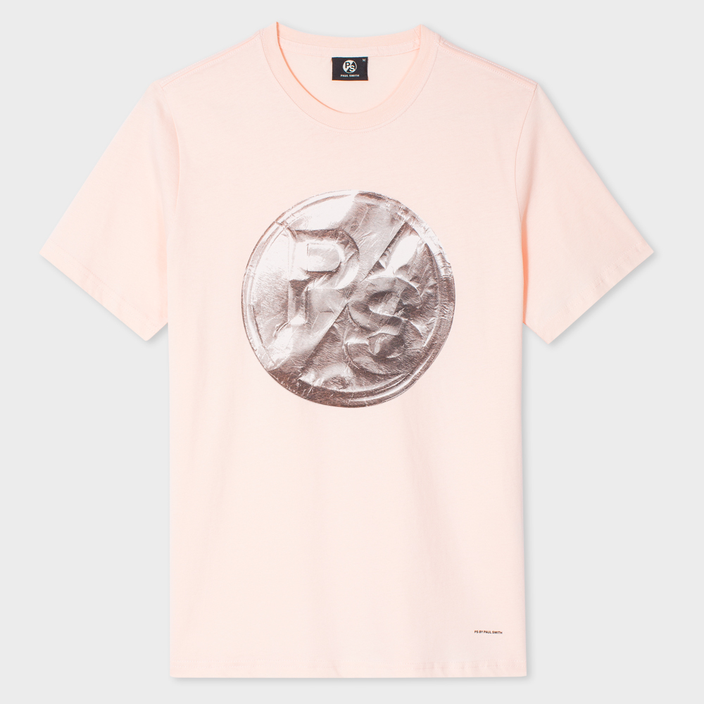 Paul Smith Men's Pink Organic-Cotton PS Logo Foil-Print T-Shirt