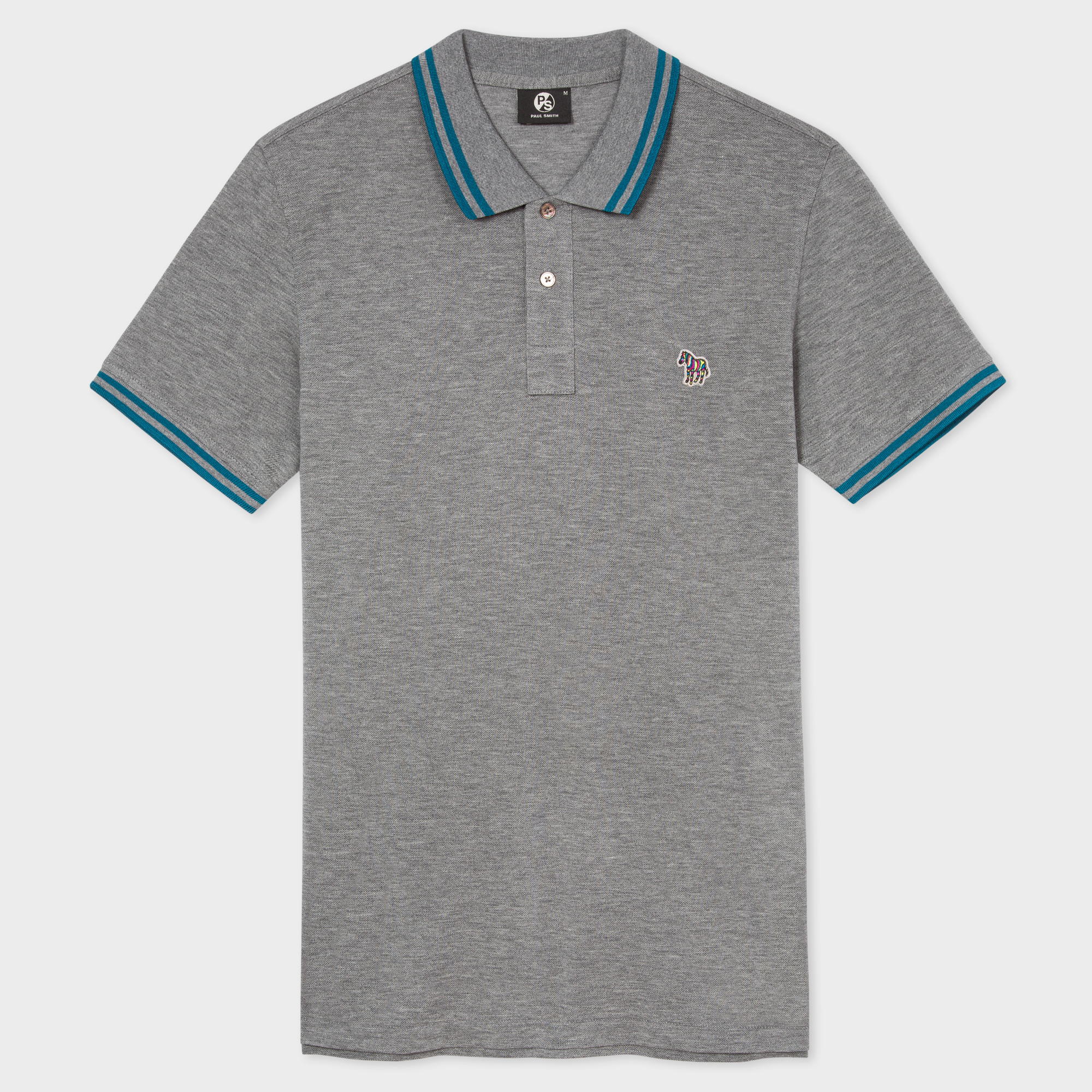 Paul Smith Men's Slim-Fit Grey Zebra Logo Polo Shirt With Petrol Tipping