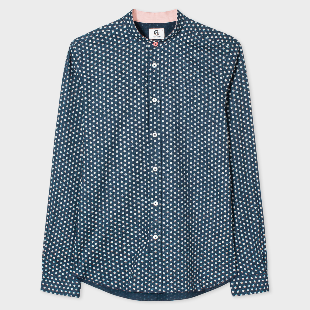 Paul Smith Men's Tailored-Fit Navy Textured-Cotton 'Painted Dot' Print Band-Collar Shirt