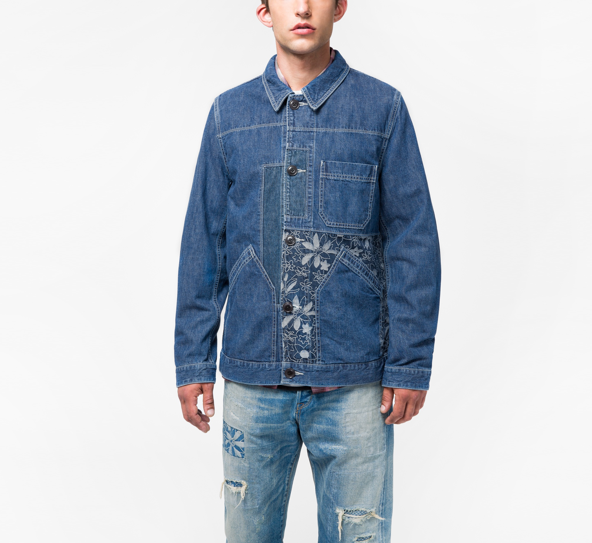 Paul Smith Men's Denim Red Ear Chore Jacket With Embroidered Patches