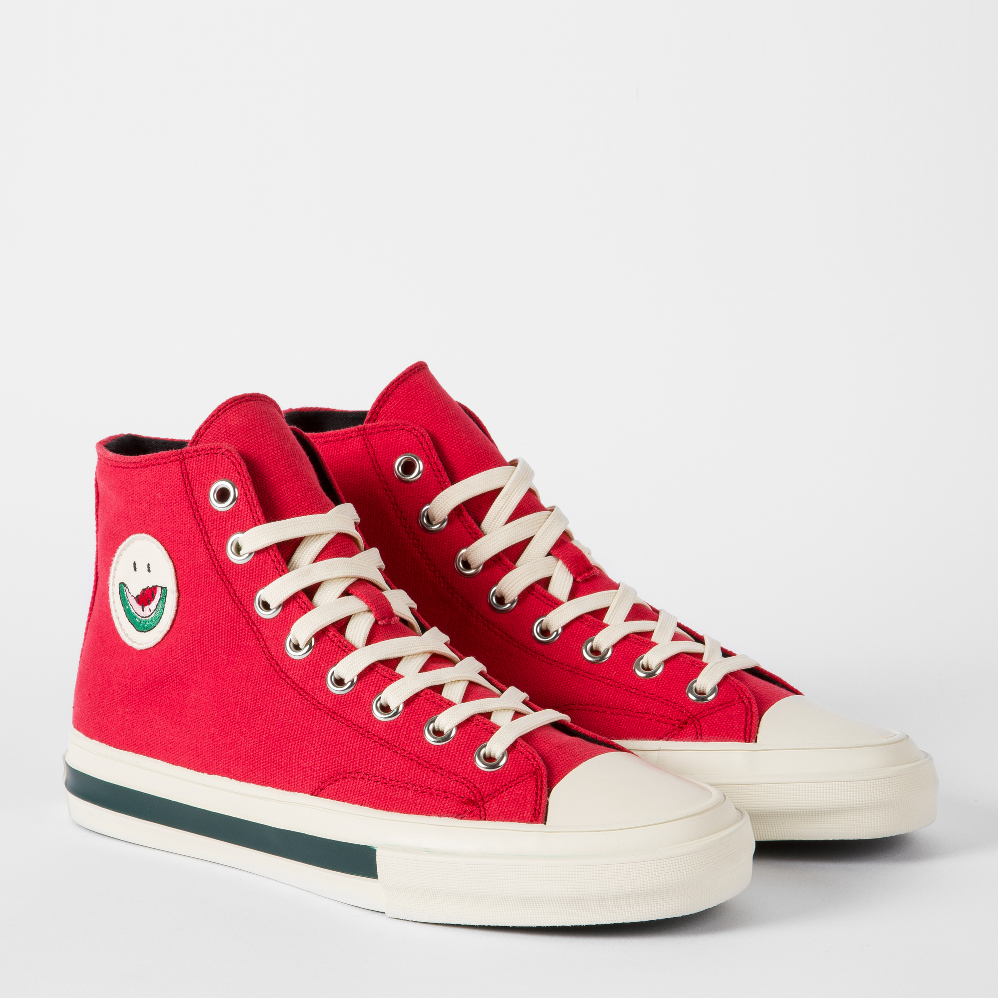 Paul Smith Men's Red Cotton-Canvas 'Kirk' Trainers