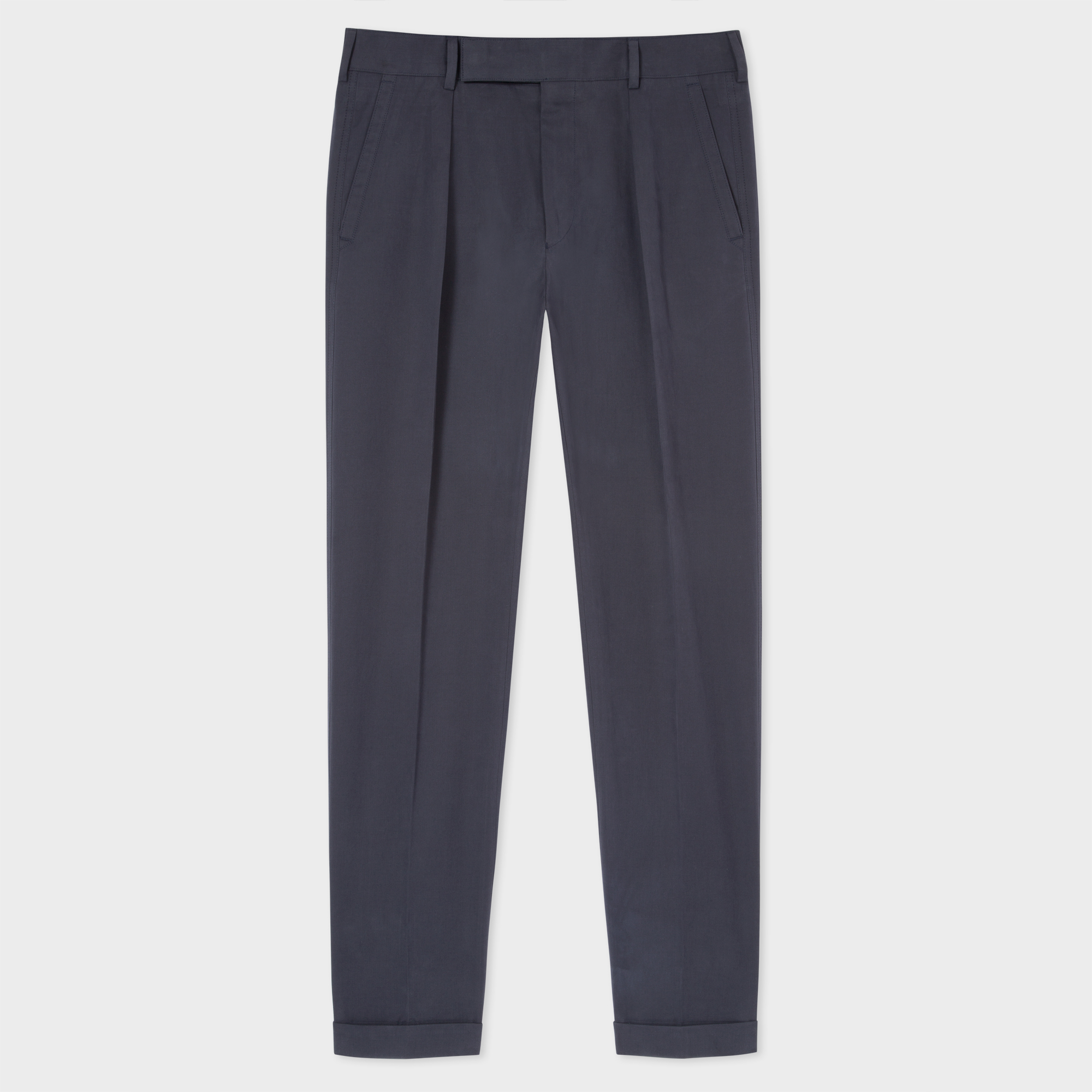 Paul Smith Men's Navy Brushed Cotton Tapered Trousers