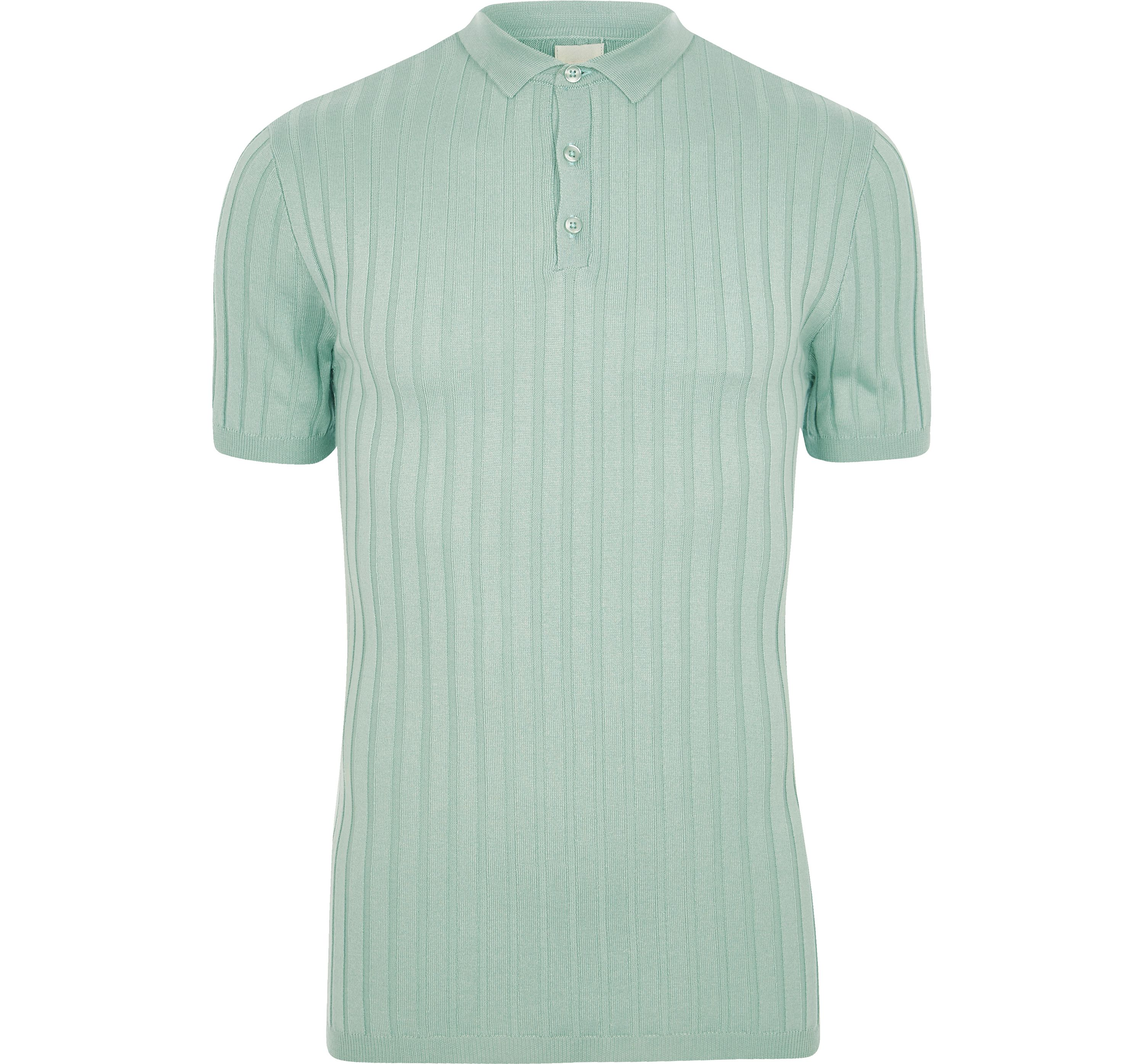 River Island Mens Light Green ribbed muscle fit polo shirt
