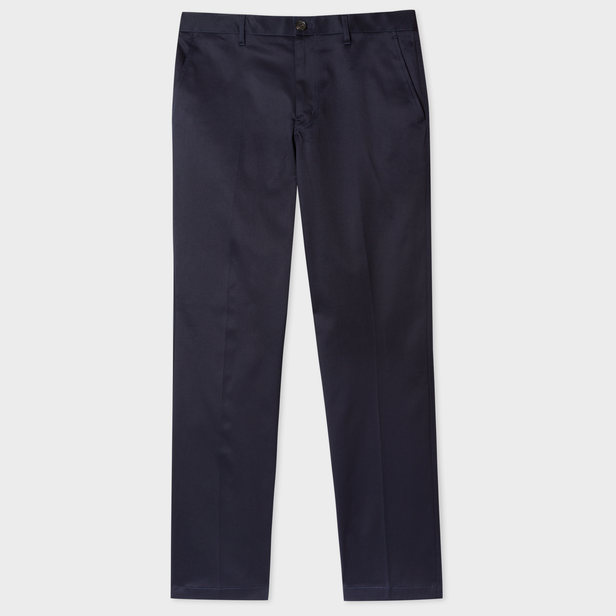 Paul Smith Men's Tapered-Fit Navy Mercerised Stretch-Cotton Chinos