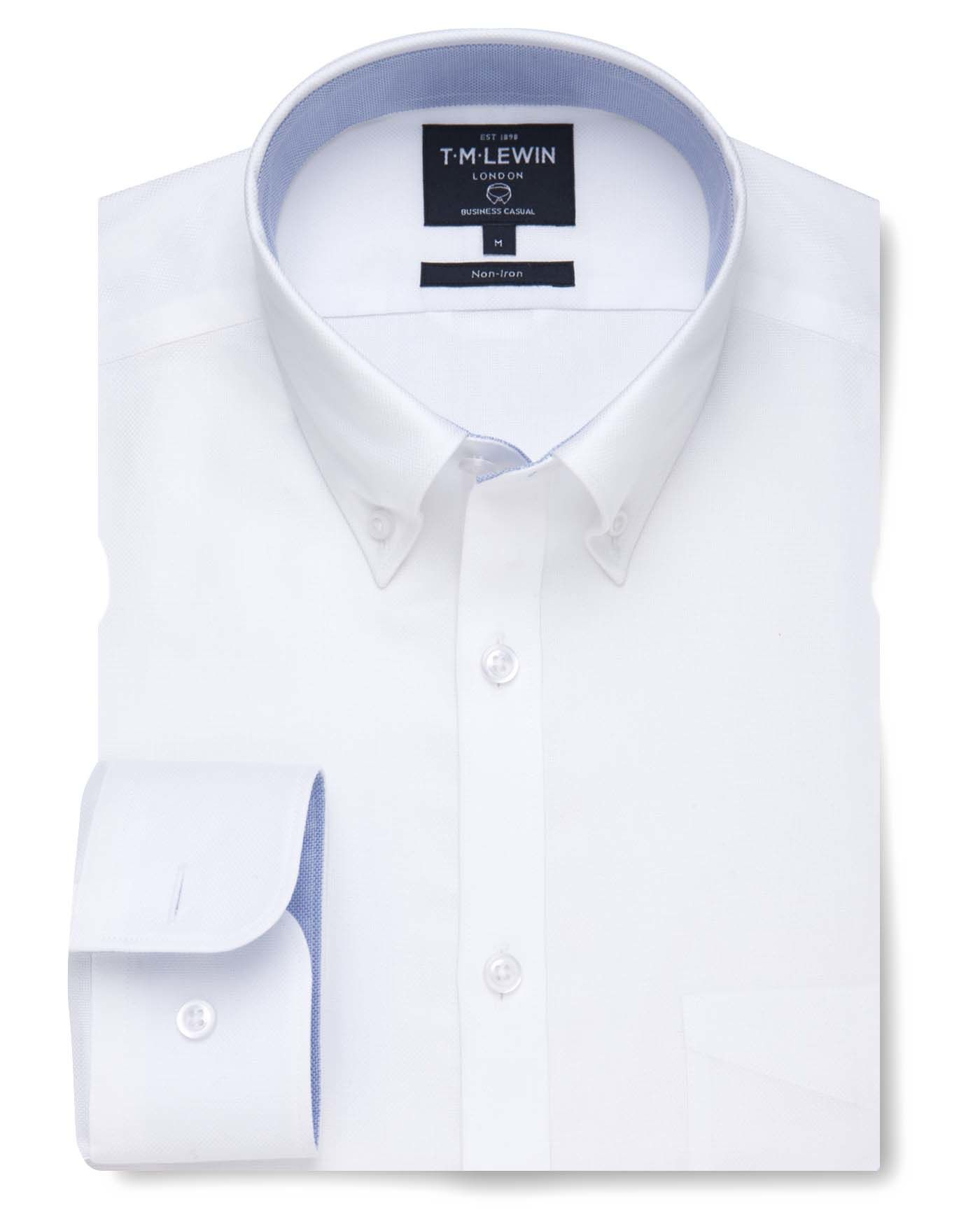 T.M.Lewin Non-Iron White Royal Oxford Casual Slim Fit Shirt