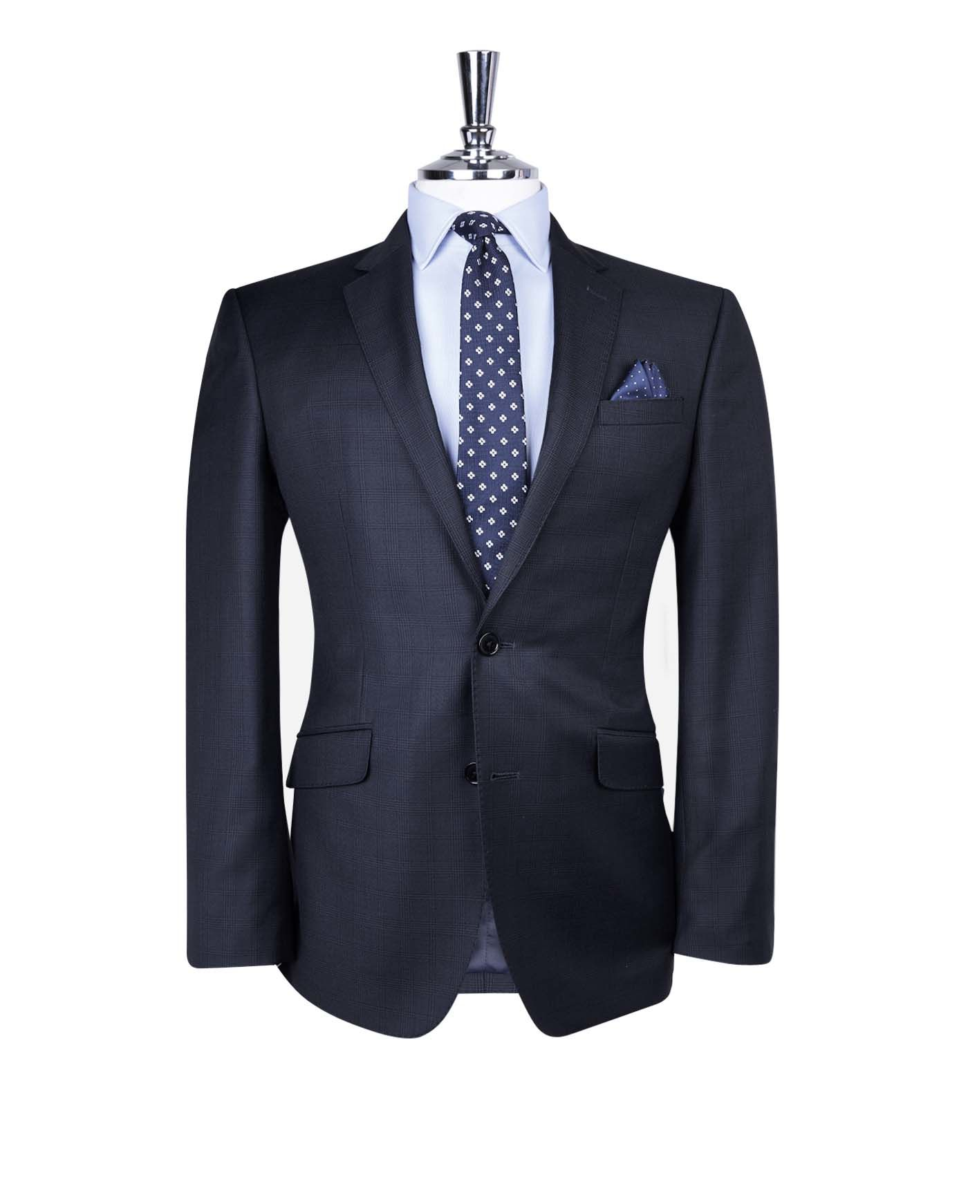 T.M.Lewin Redwood Navy Check Italian Wool Slim Fit Suit Jacket