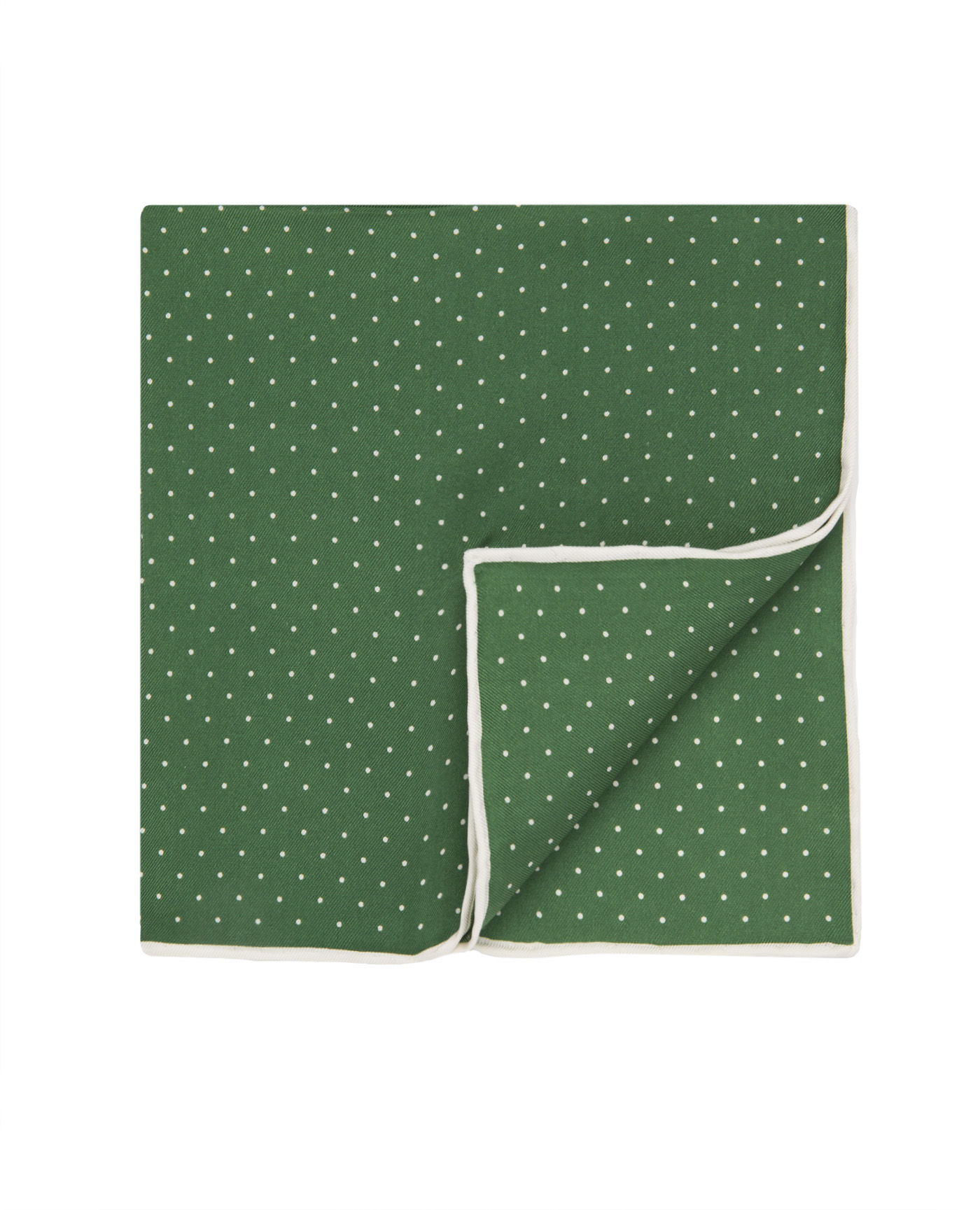 T.M.Lewin Green Spot Silk Pocket Square