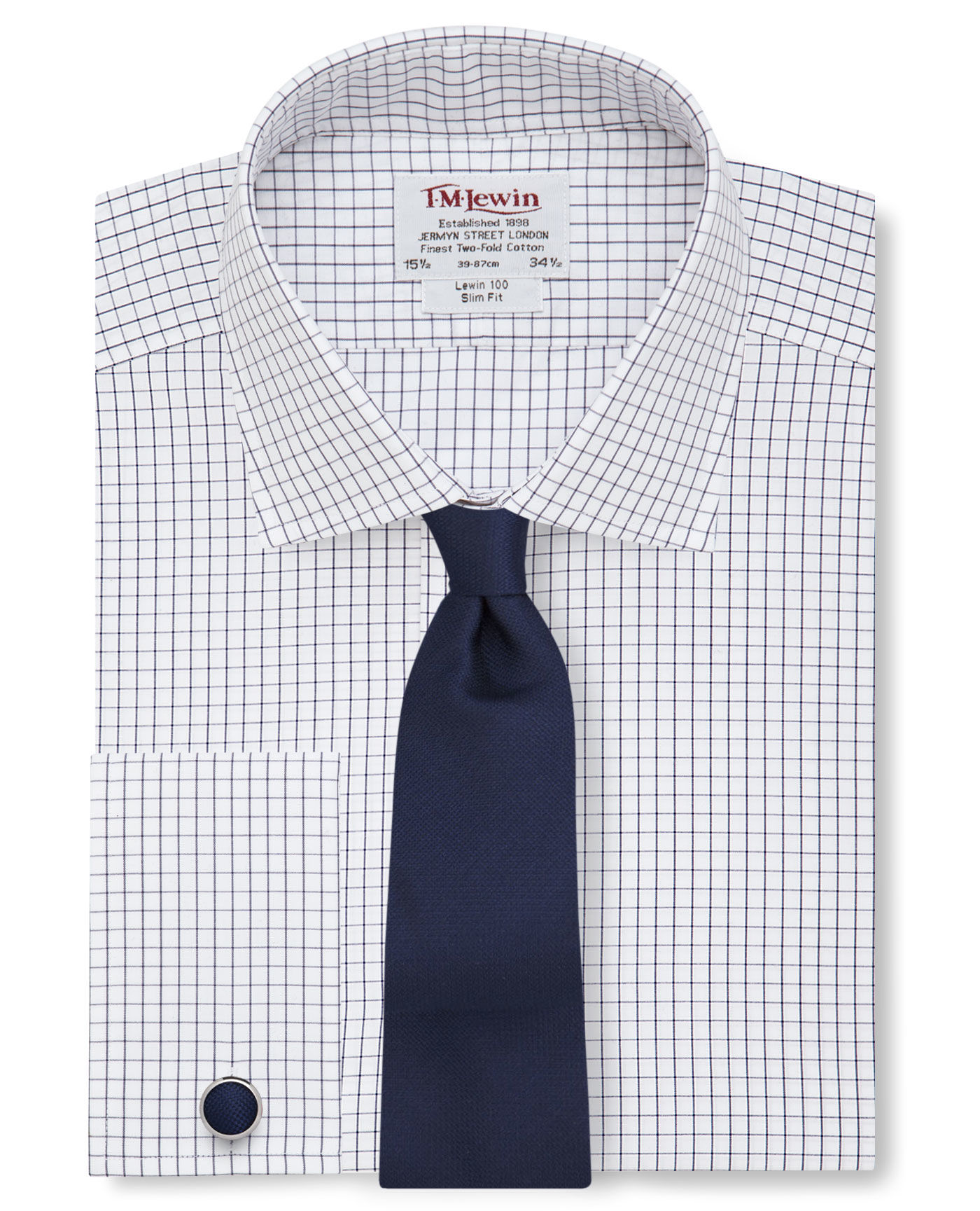 T.M.Lewin Slim Fit Navy Check Double Cuff Shirt