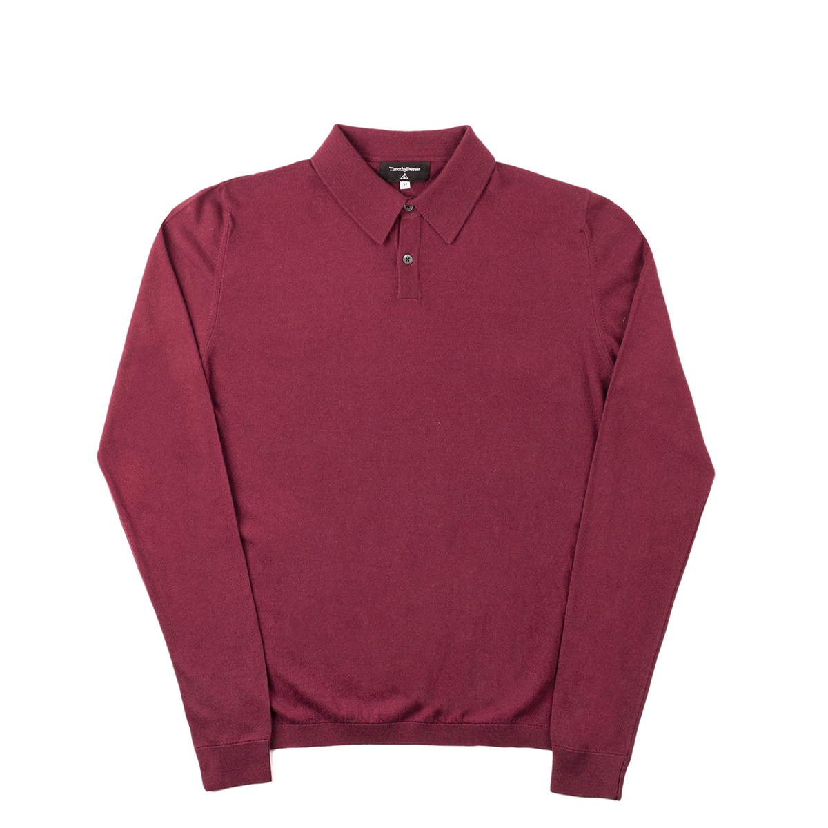 Timothy Everest Burgundy Lightweight Cotton/Cashmere Long Sleeve Polo