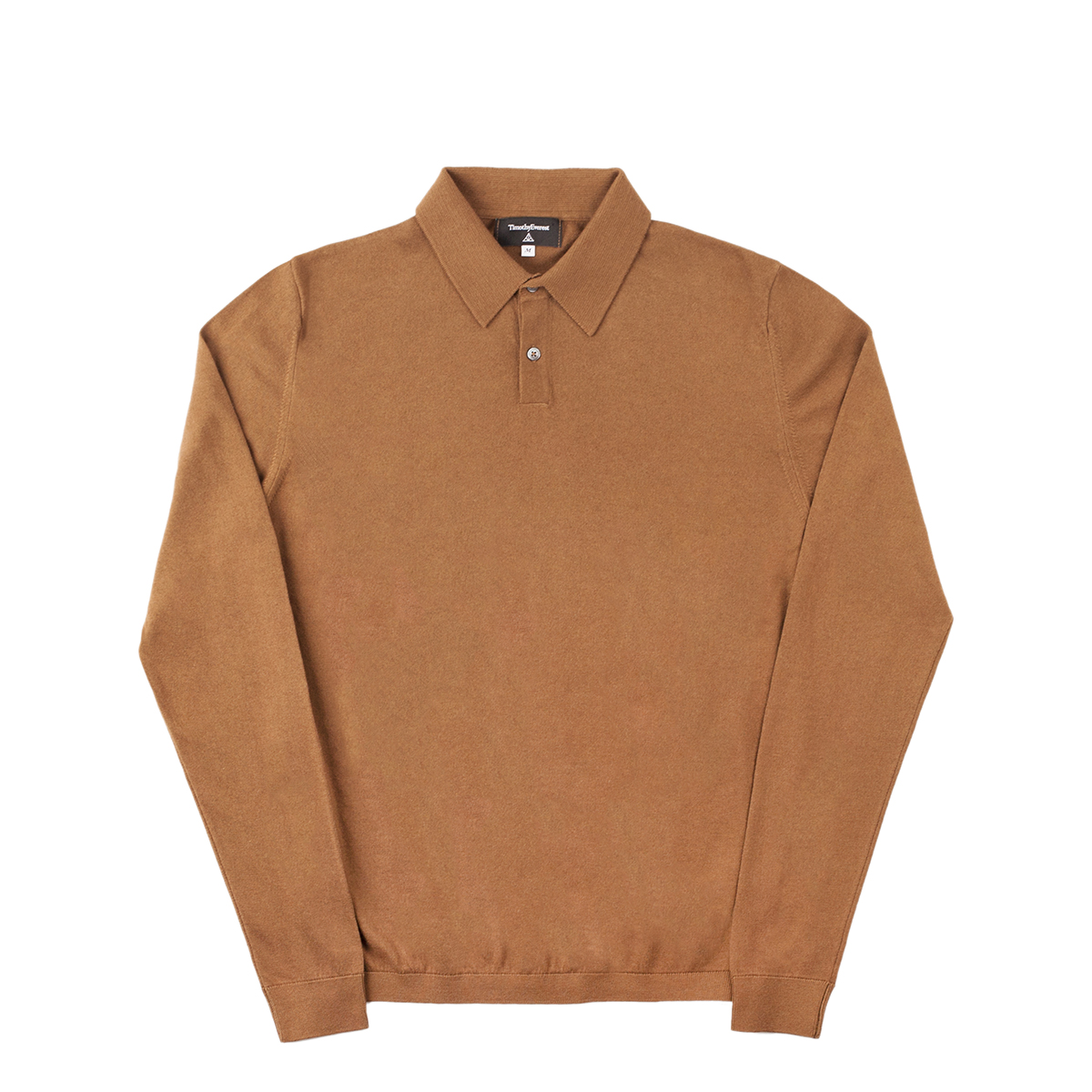 Timothy Everest Camel Lightweight Cotton/Cashmere Long Sleeve Polo