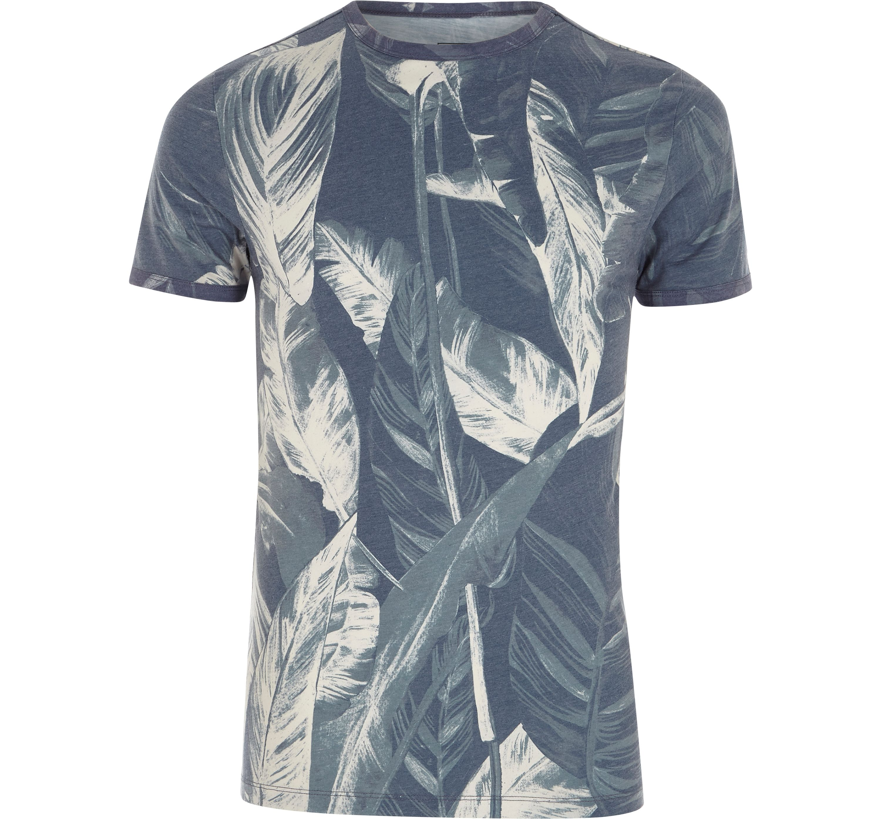 River Island Mens Grey palm print muscle fit T-shirt