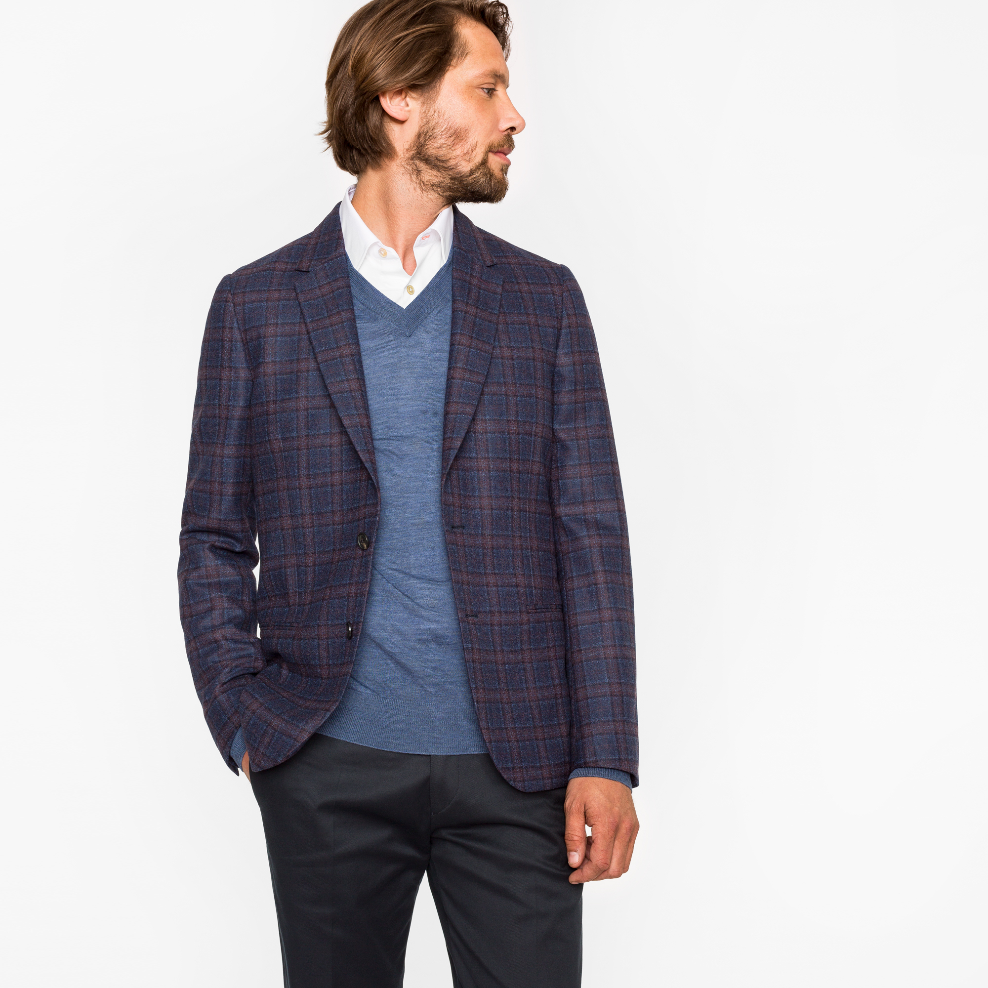 Paul Smith Men's Tailored-Fit Navy And Damson Check Unlined Wool Blazer