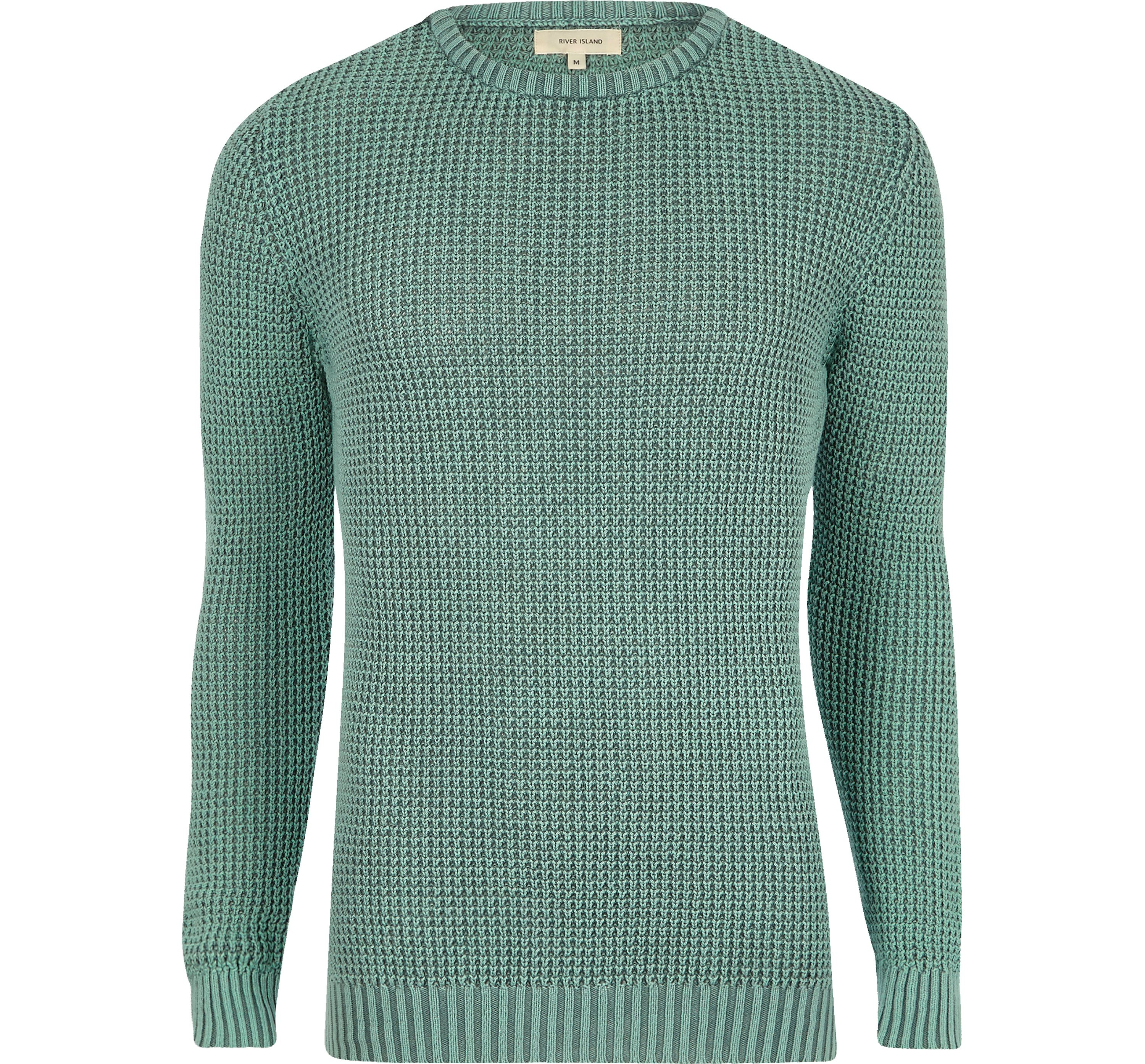 River Island Mens Light Green acid wash slim fit knit jumper