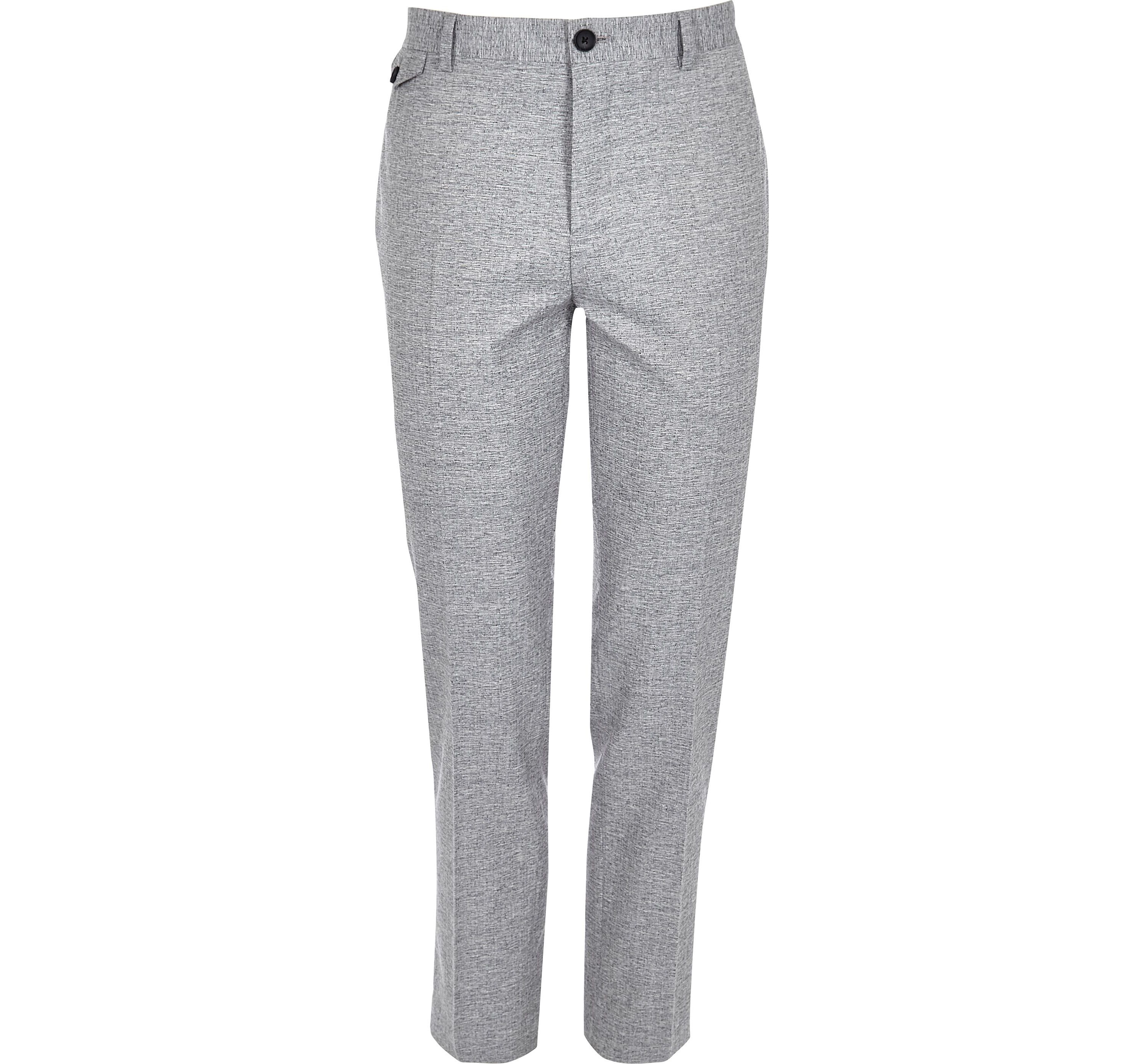 River Island Mens Grey crosshatch skinny fit suit trousers