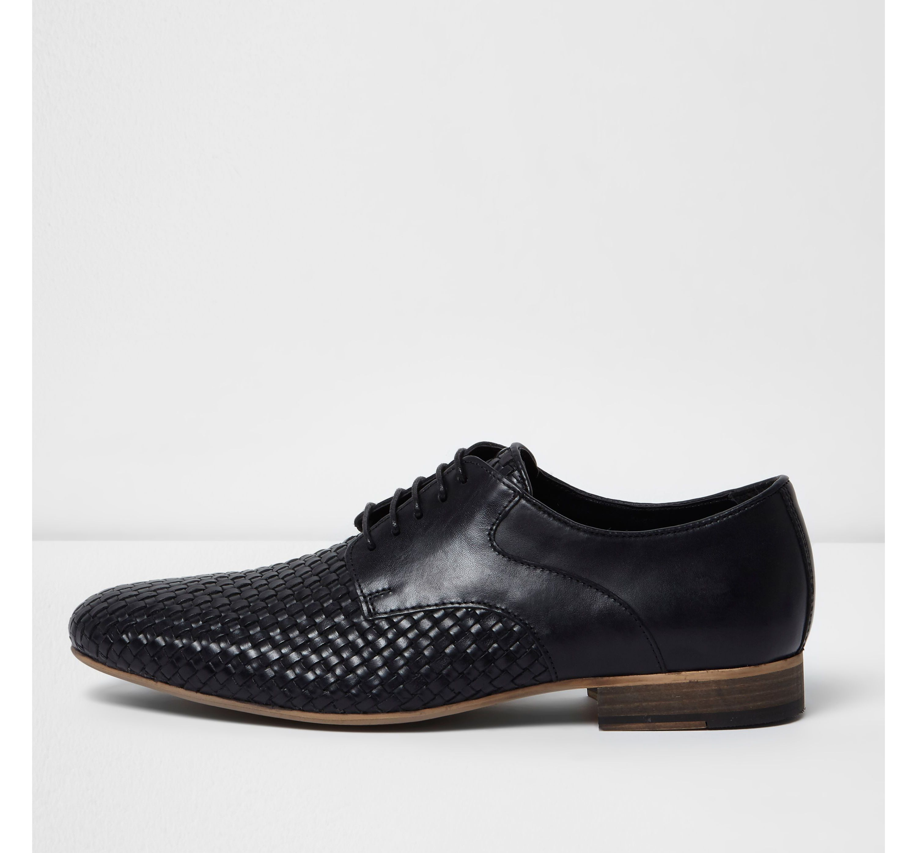 River Island Mens Black woven lace-up shoes