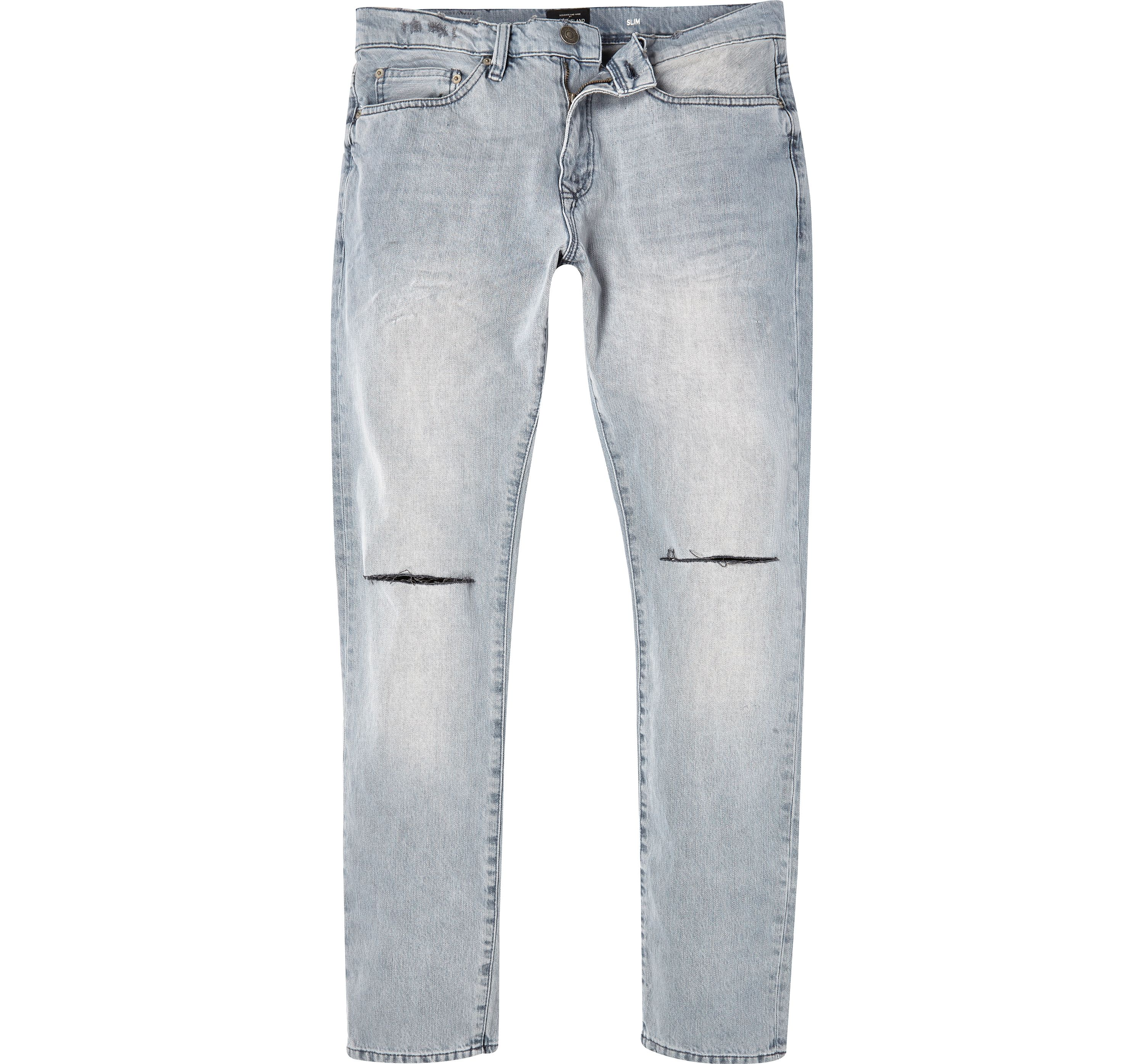 River Island Mens Grey wash ripped Dylan slim jeans