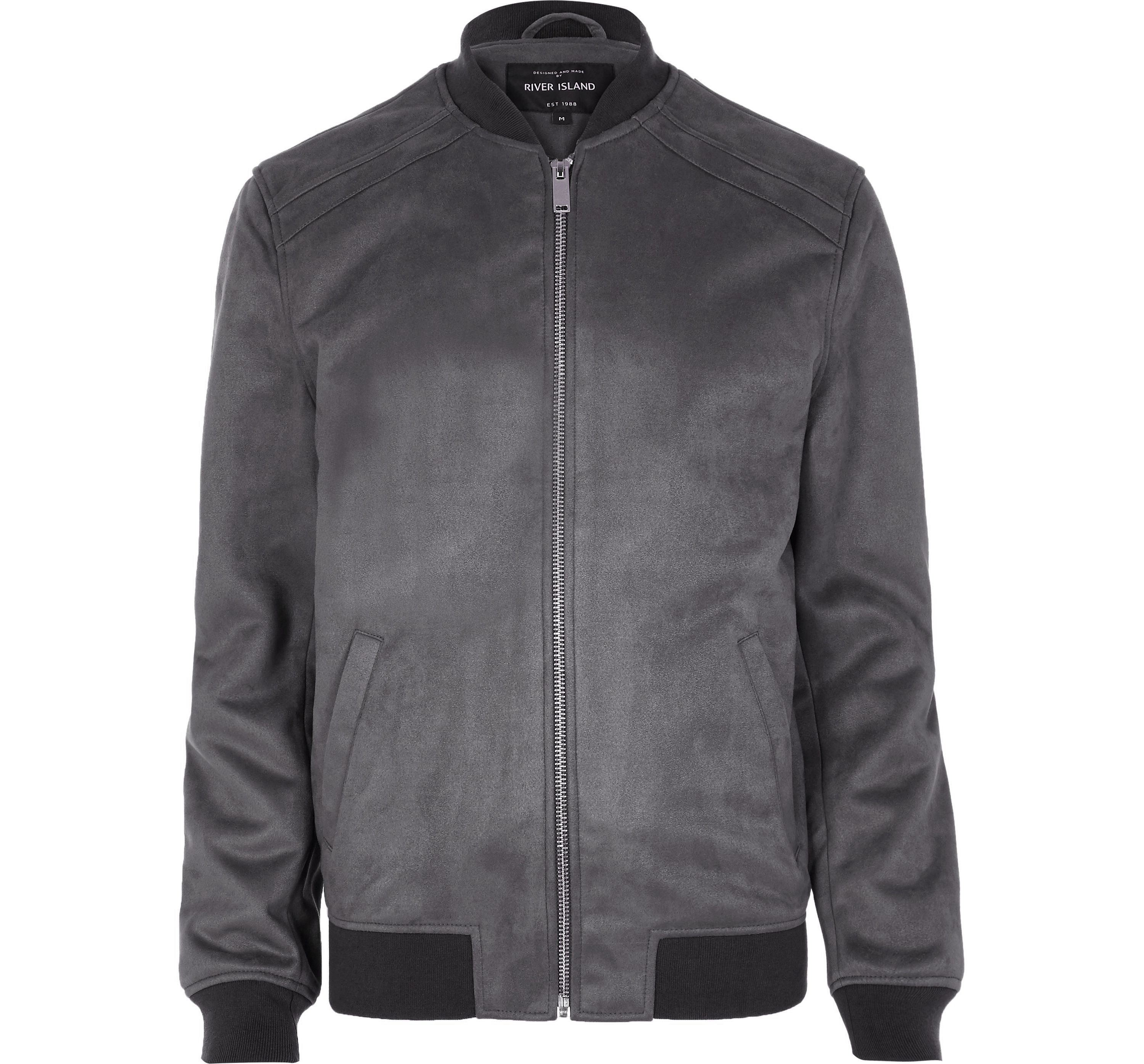 River Island Mens Grey faux suede bomber jacket