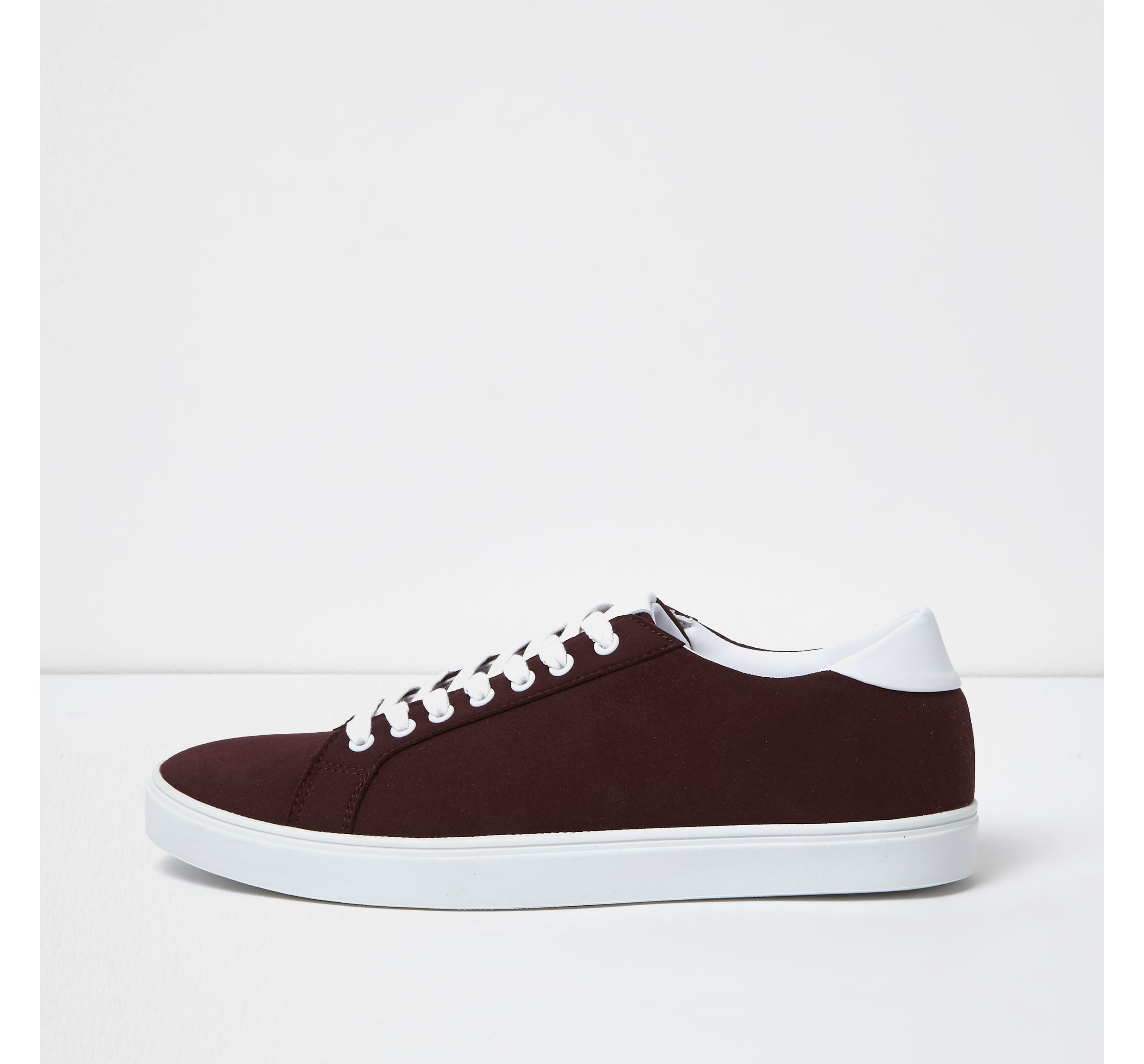 Red River Island Mens Burgundy lace-up trainers