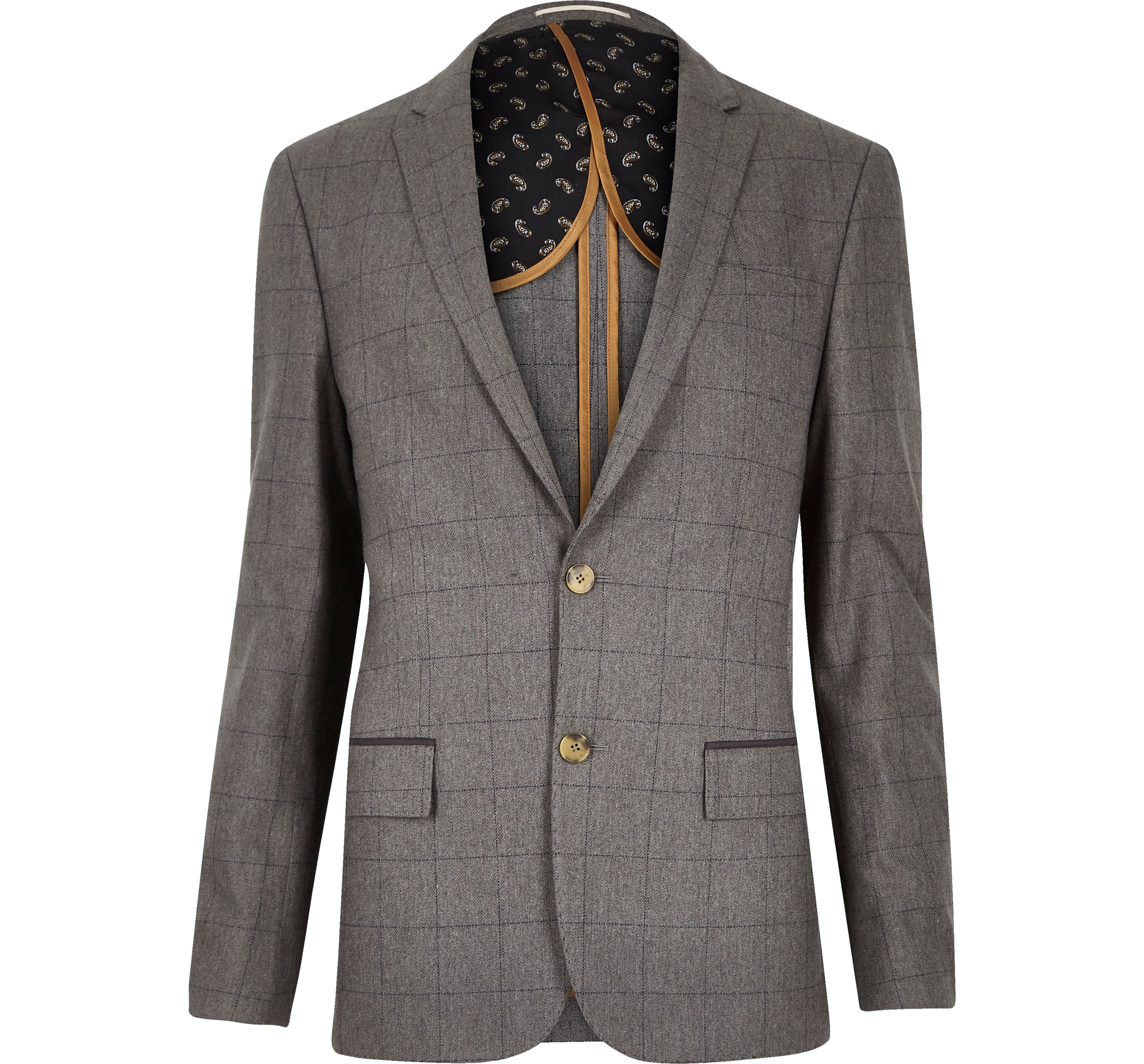 River Island Mens Grey check skinny suit jacket