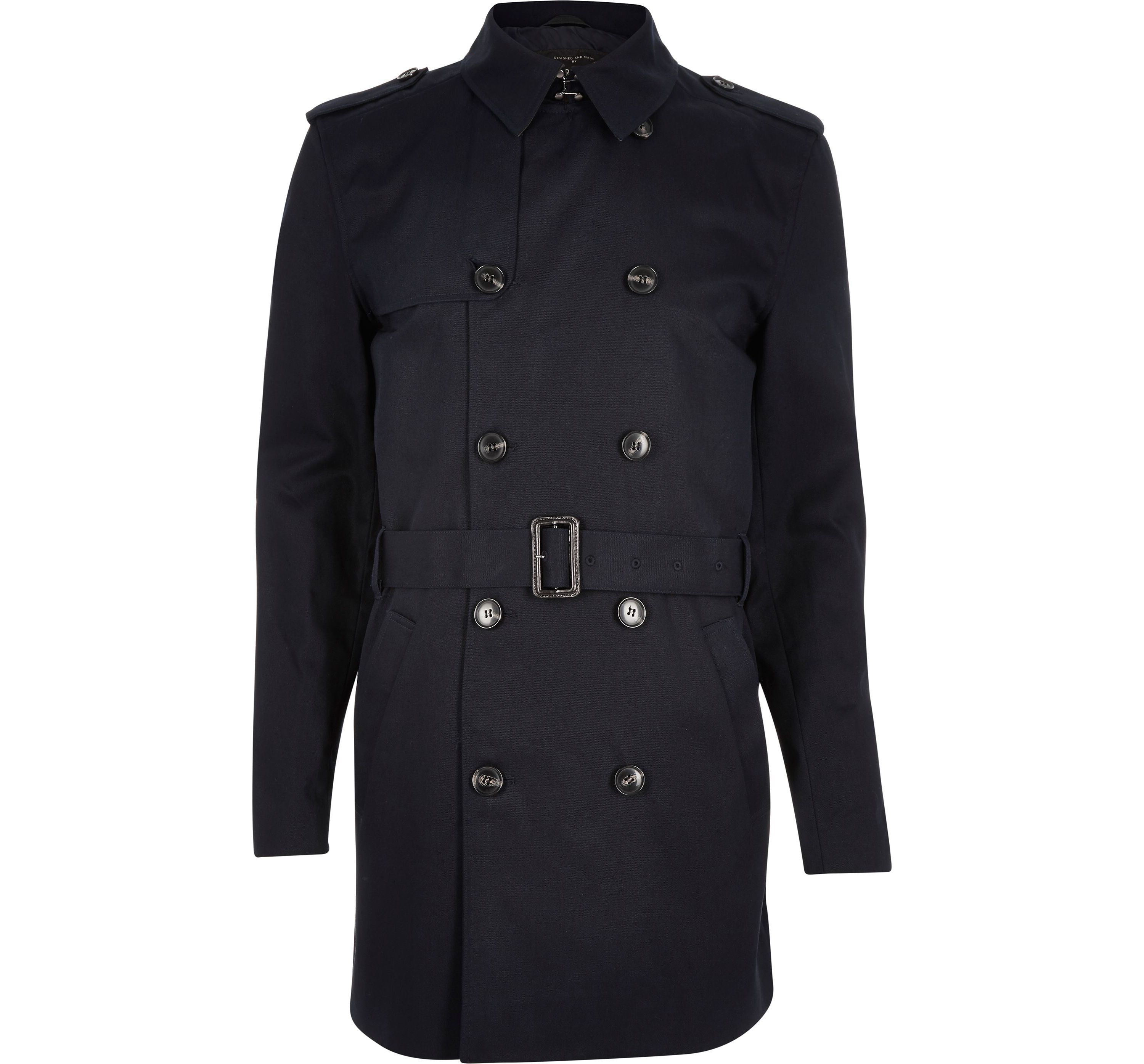 River Island Mens Navy traditional water resistant mac