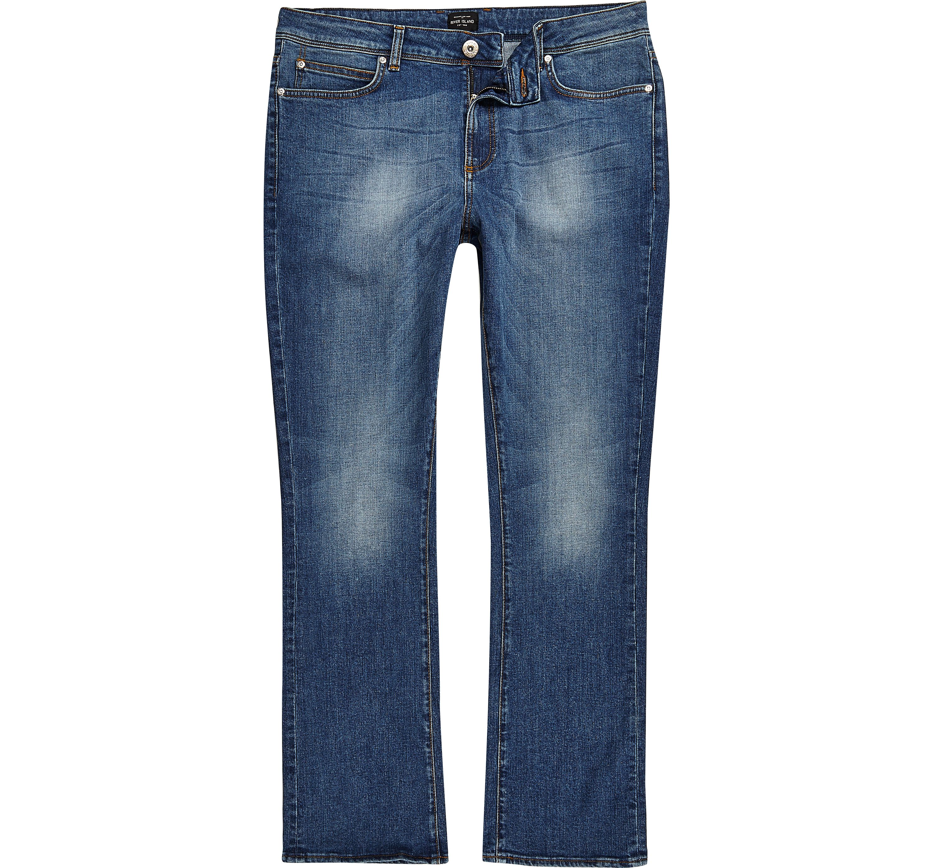 River Island Mens Mid Blue wash Clint bootcut jeans