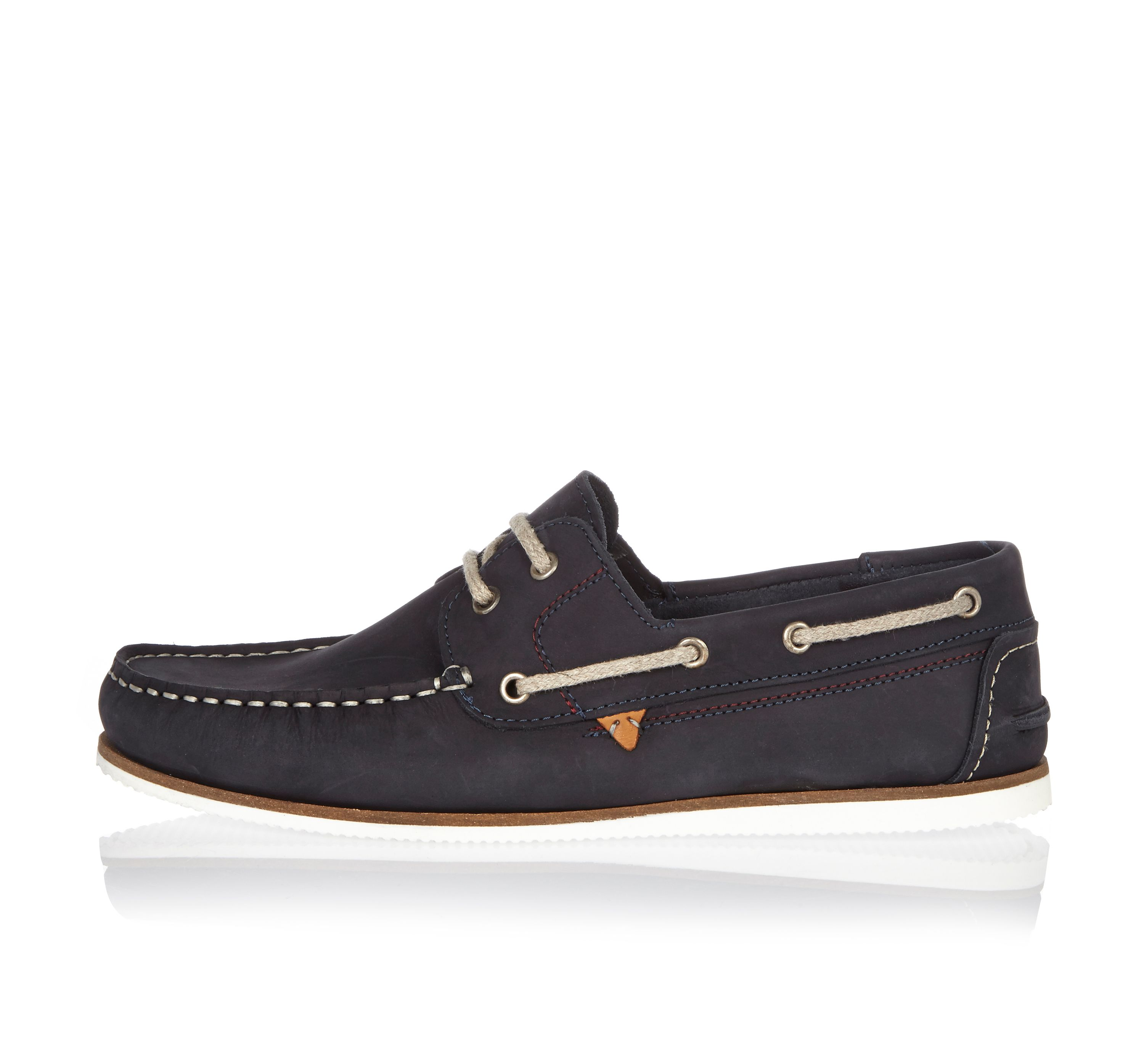 Mens Navy leather boat shoes River Island DQIQ4nX