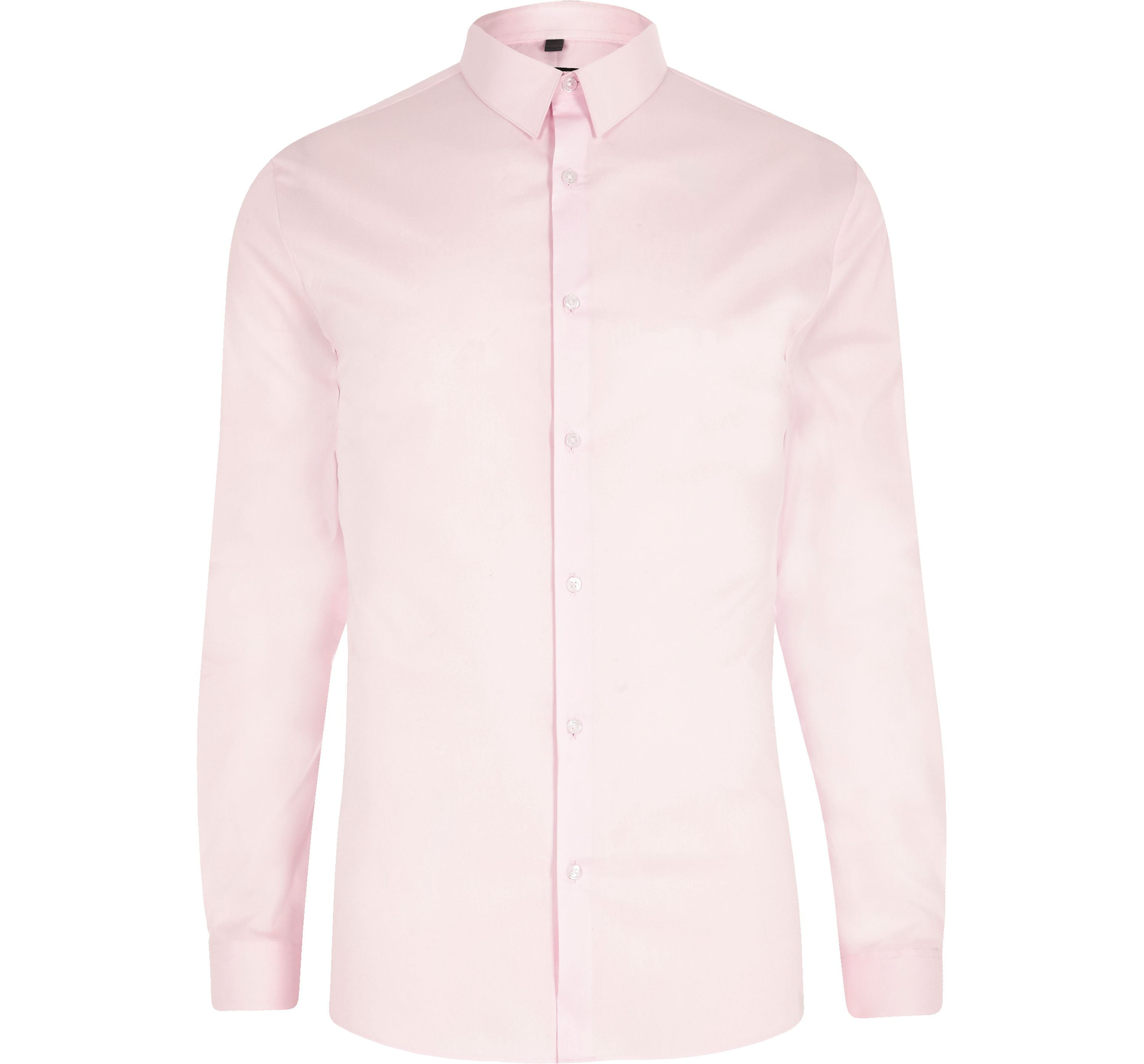 River Island Mens Pink poplin long sleeve muscle fit shirt