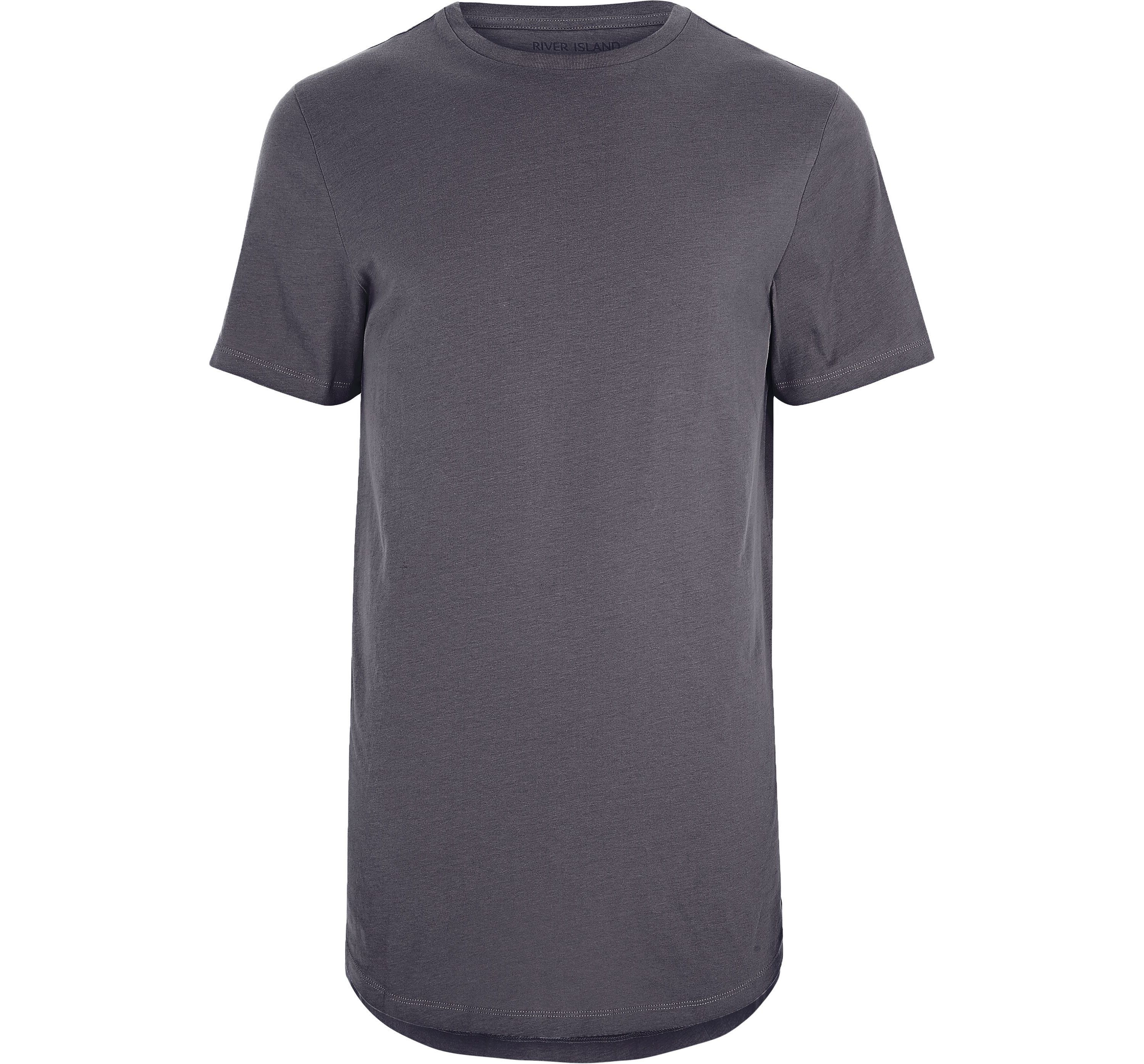 River Island Mens Big and Tall dark Grey curved hem T-shirt