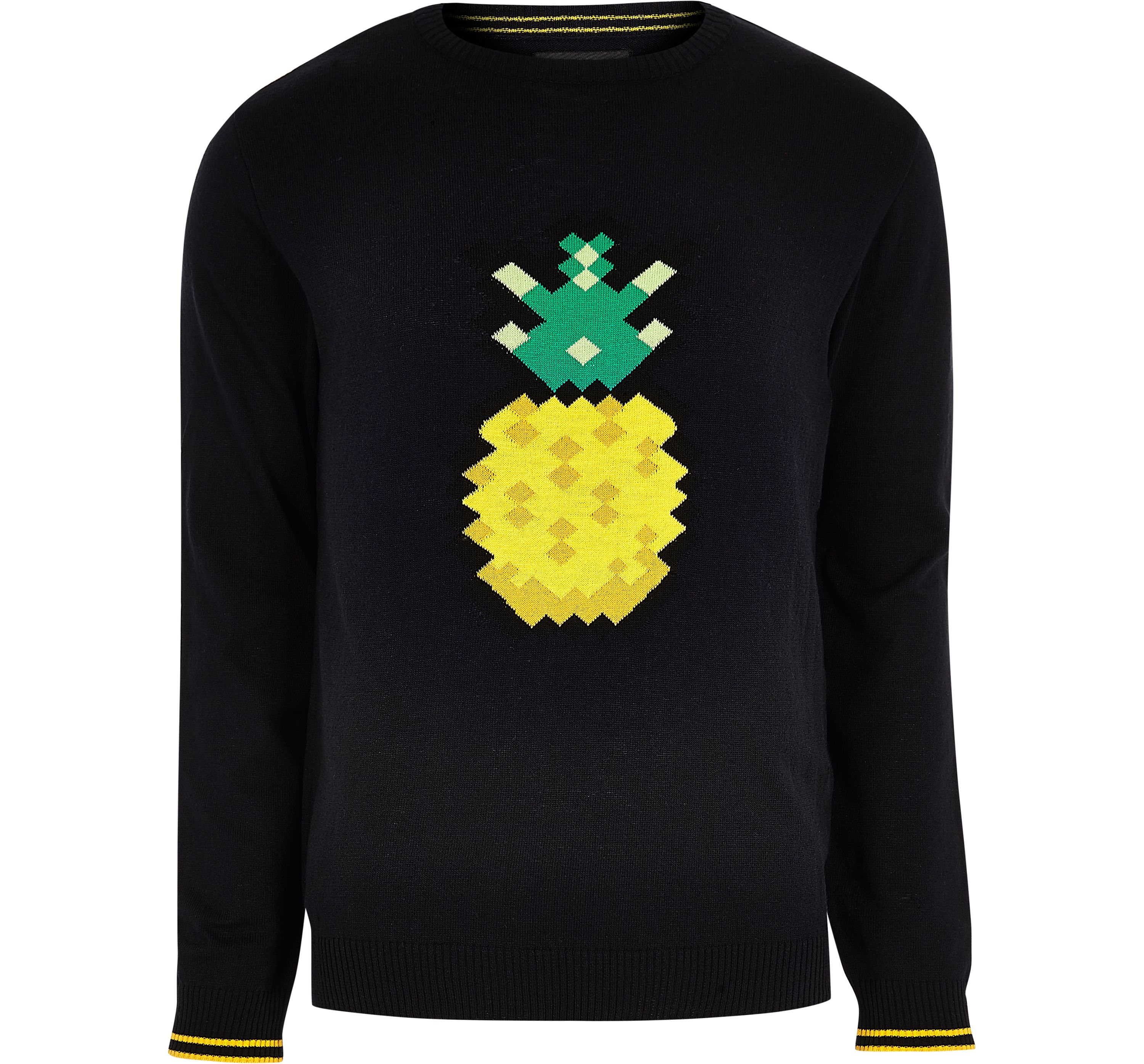 River Island Mens Navy blue pineapple print slim fit jumper