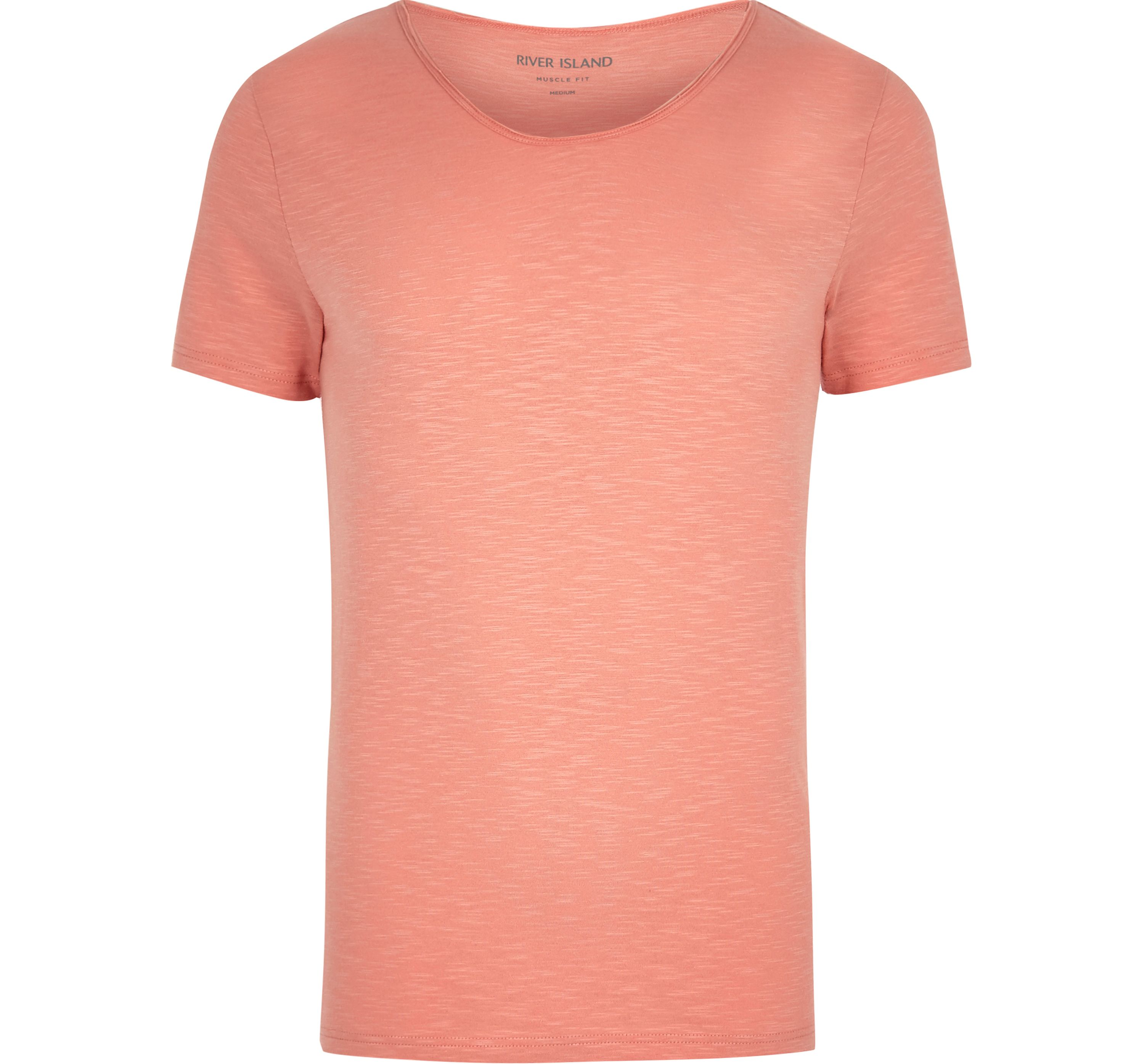 River Island Mens Orange scoop neck muscle fit T-shirt