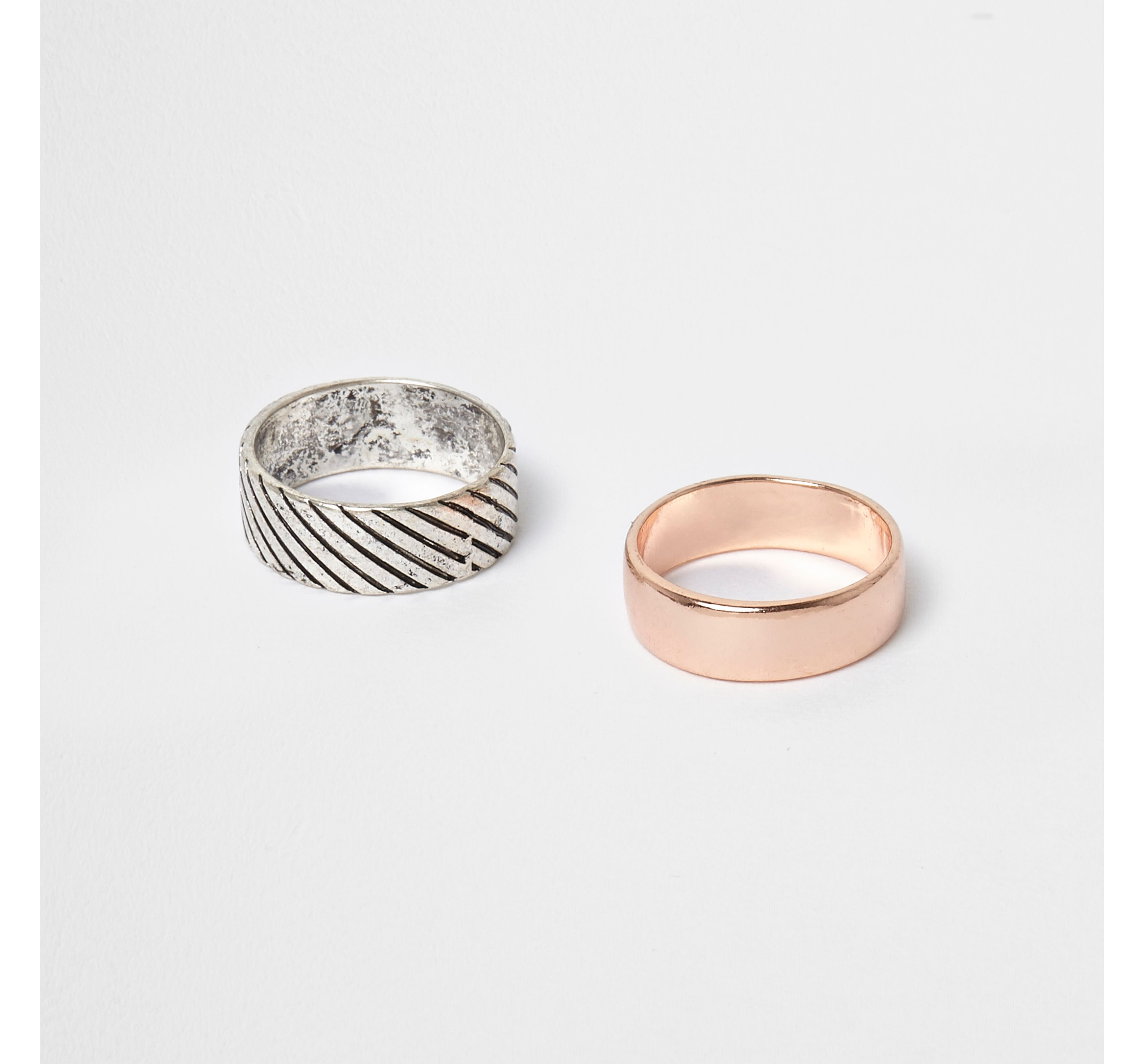 River Island Mens Silver tone and rose gold tone ring multipack
