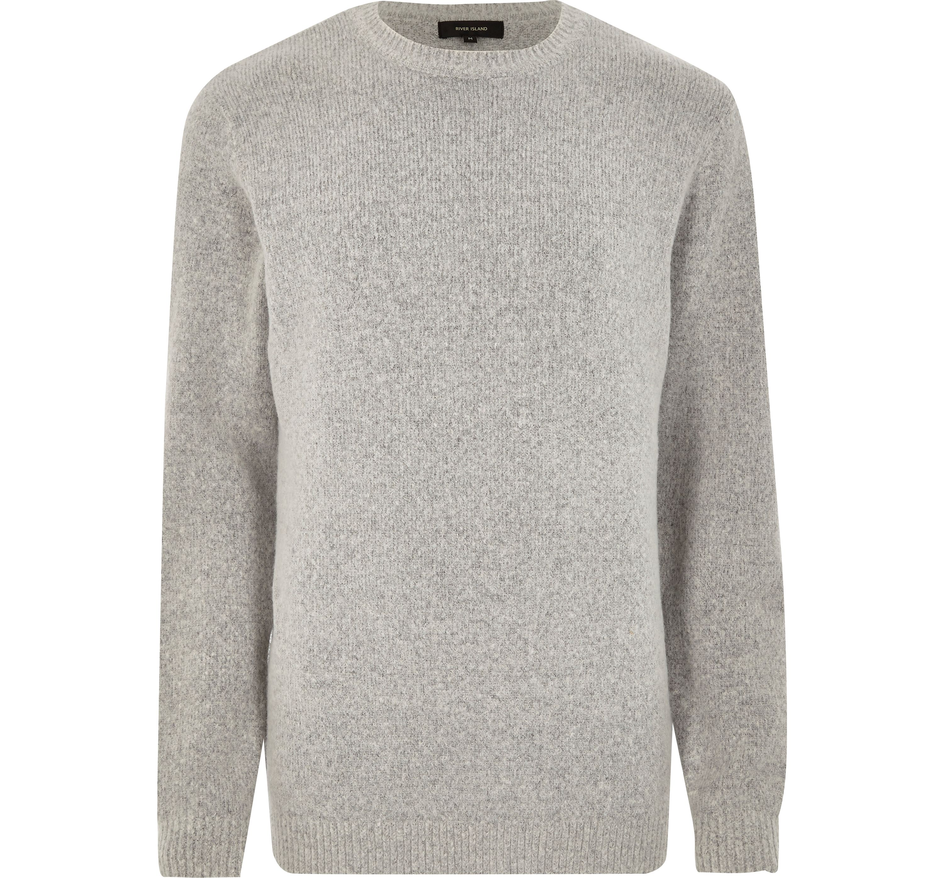 River Island Mens Grey soft crew neck knit jumper