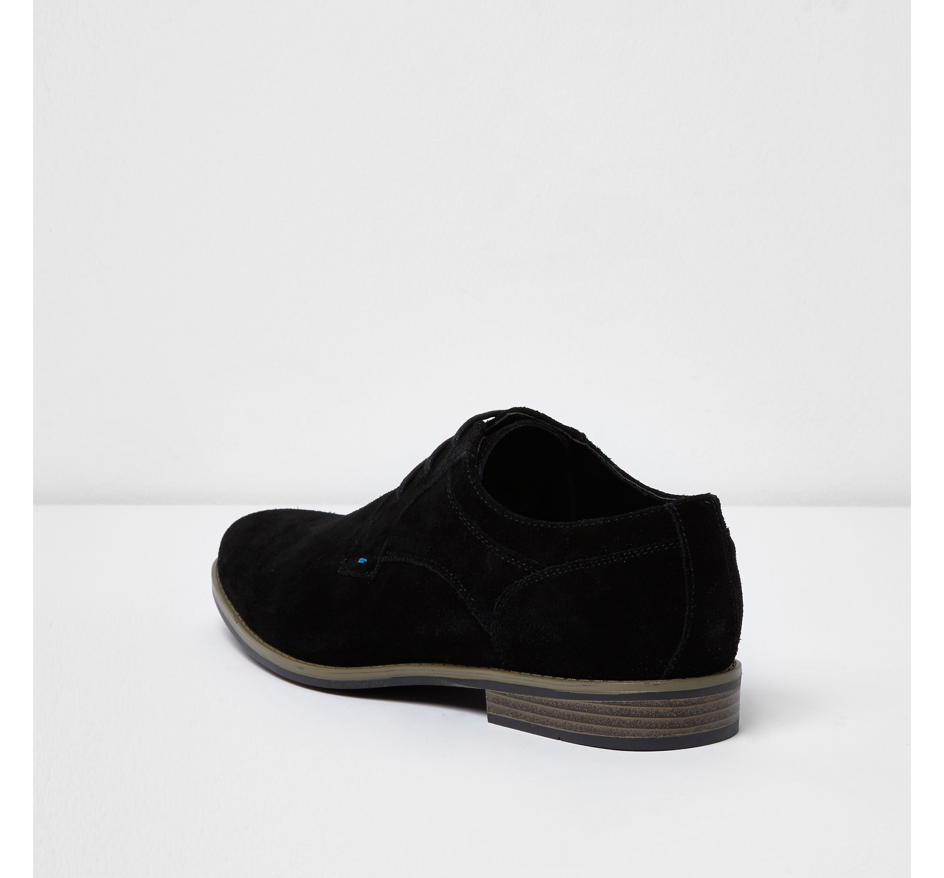 Mens Black suede derby shoes by River