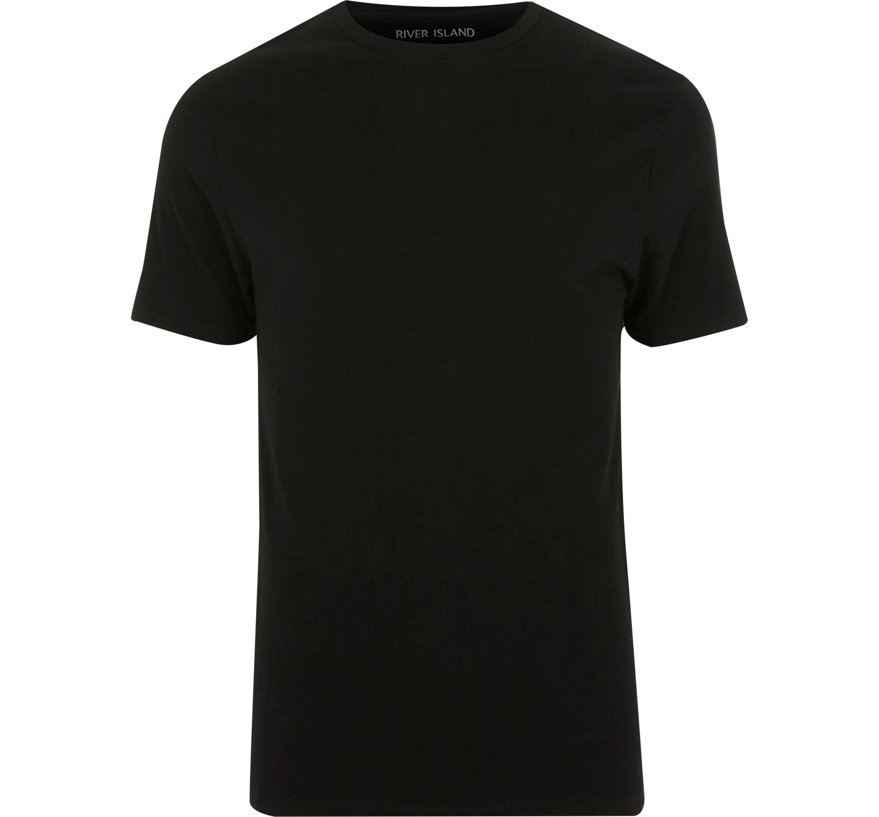 River Island Mens Black muscle fit crew neck T-shirt
