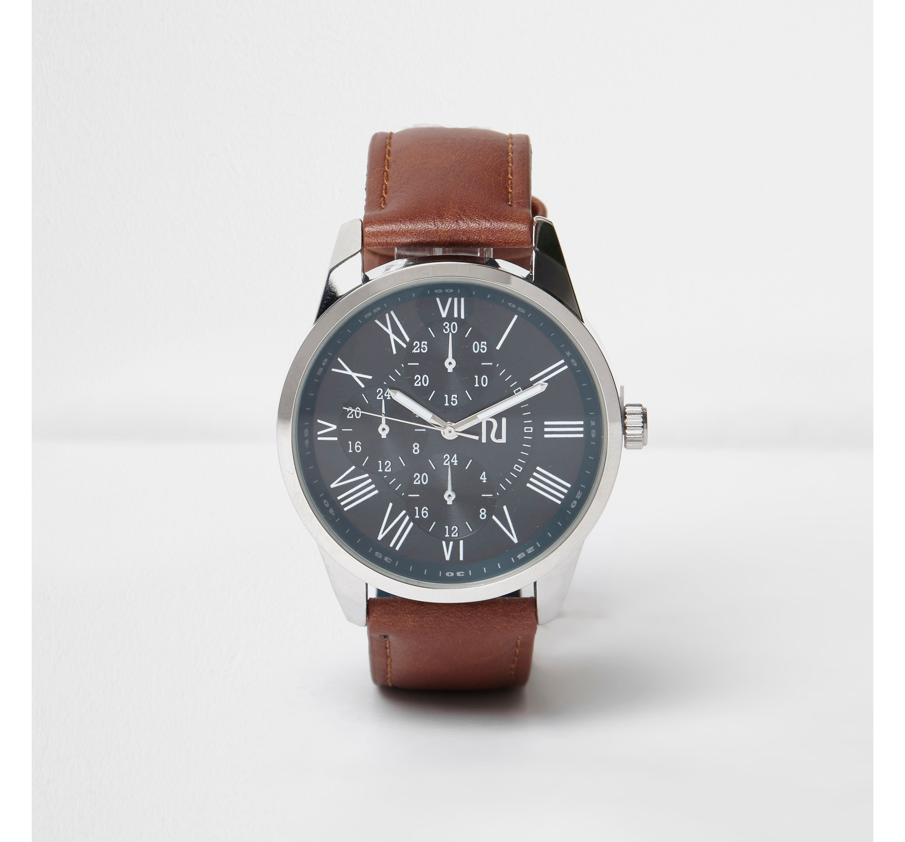 River Island Mens Brown leather look strap watch