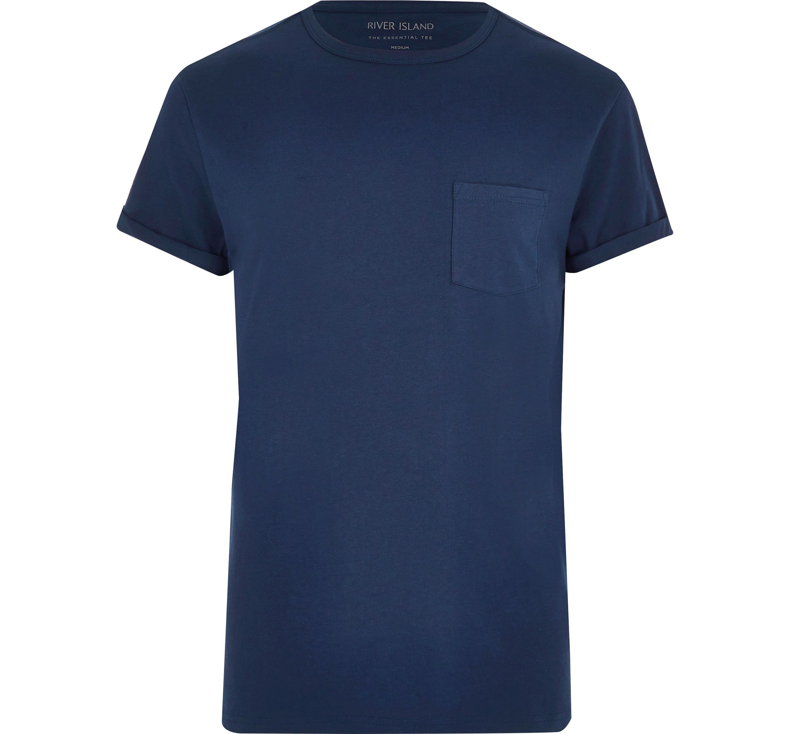 River Island Mens Big and Tall Navy roll sleeve T-shirt