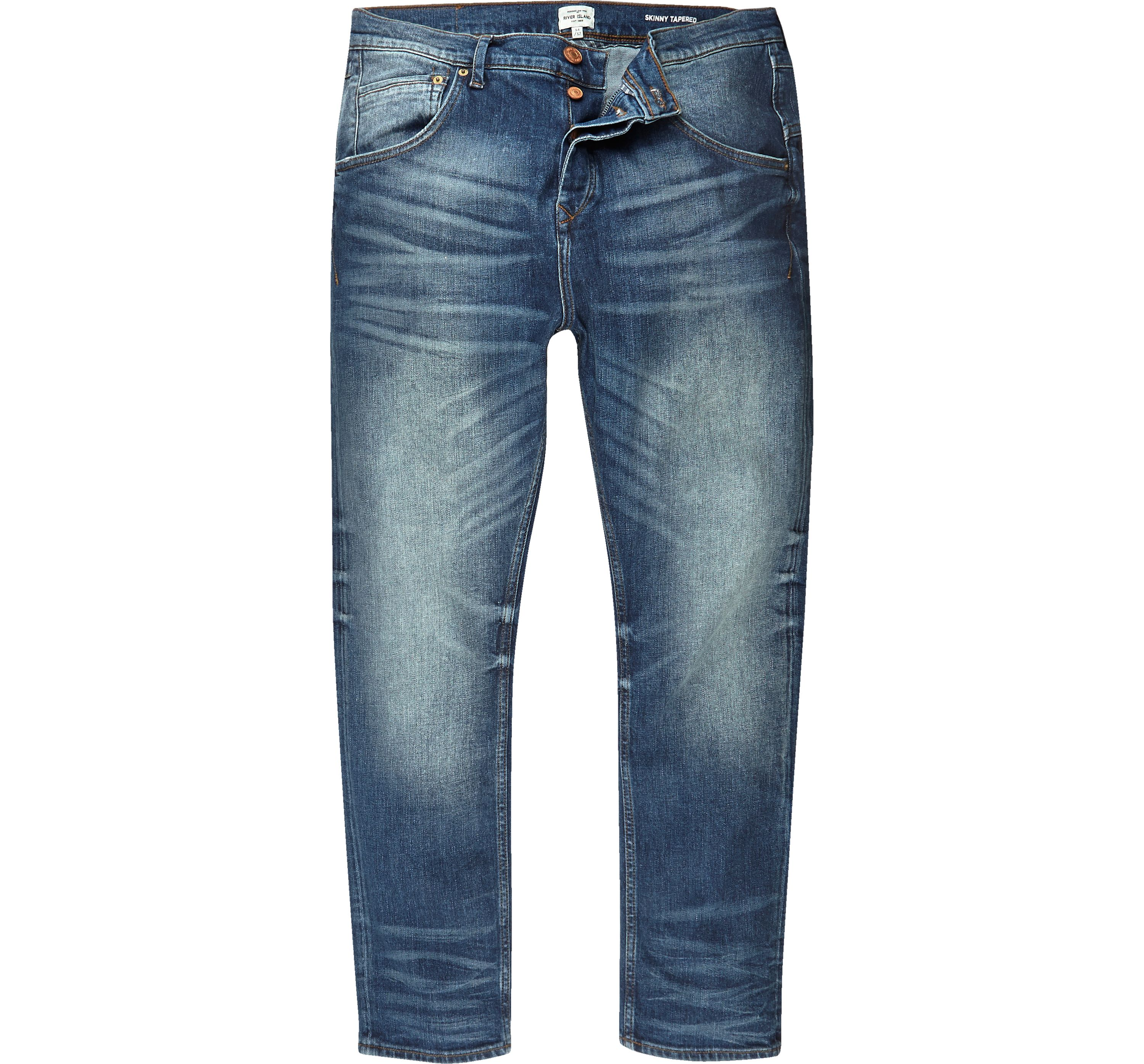 River Island Mens Mid Blue wash Chester skinny tapered jeans