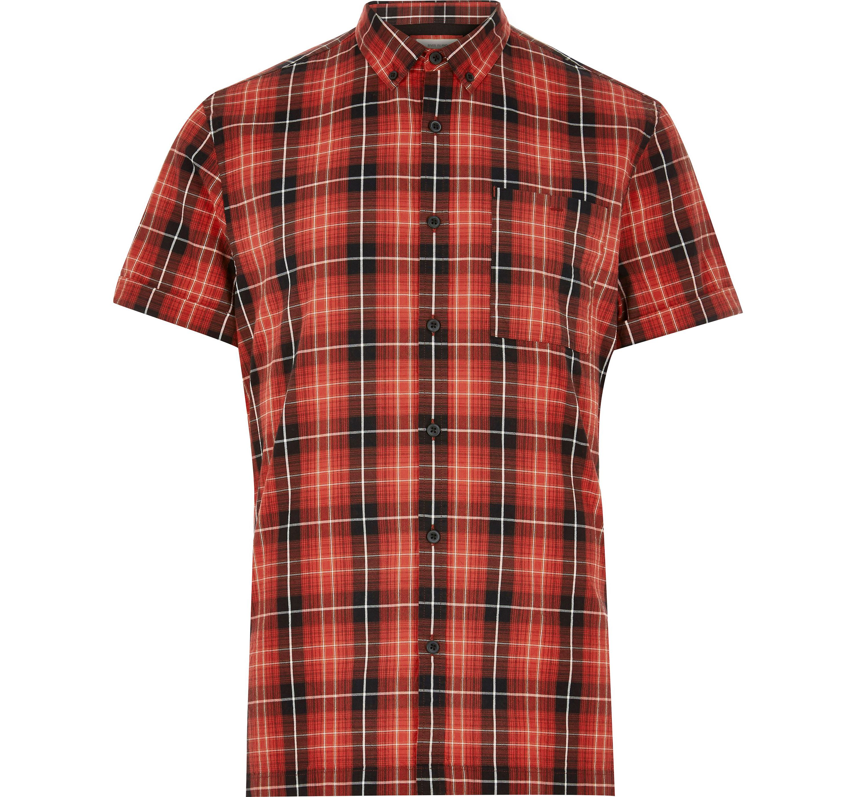 River Island Mens Red check Oxford short sleeve shirt