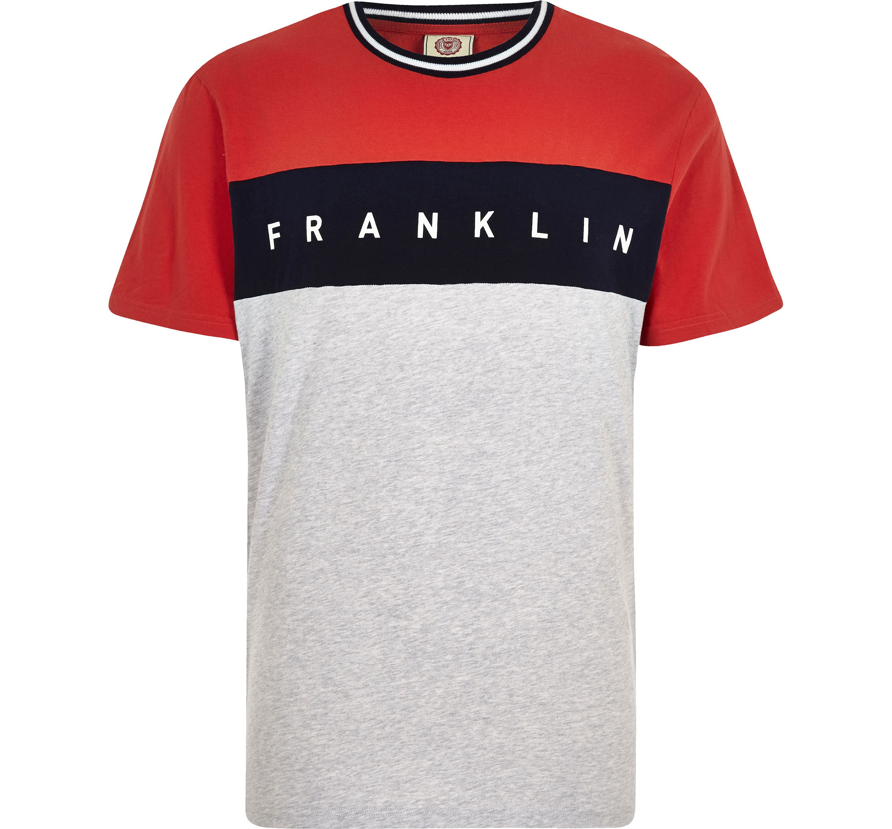 River Island Mens Red Franklin and Marshall colour block T-shirt