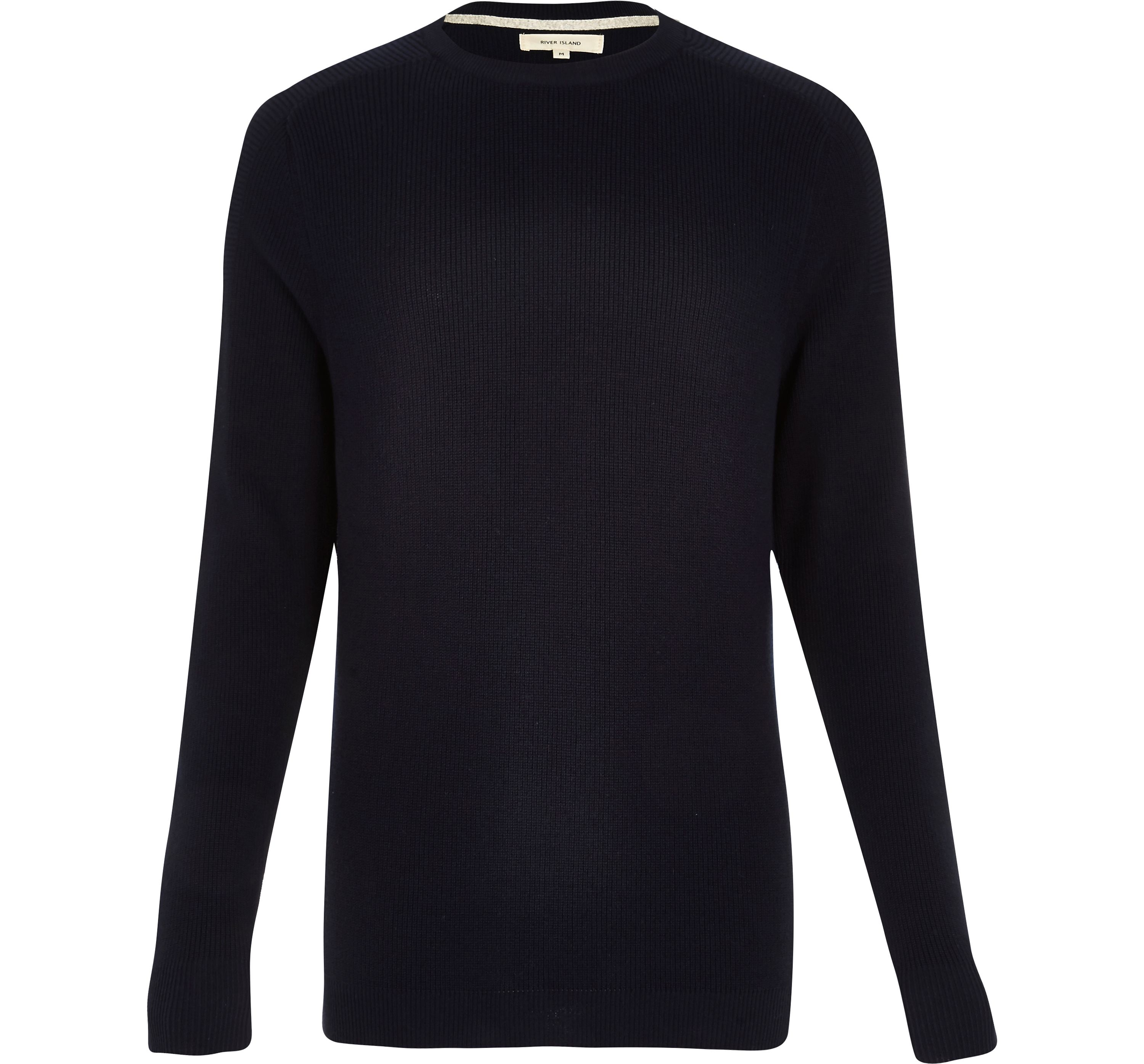 River Island Mens Navy textured knitted crew neck jumper