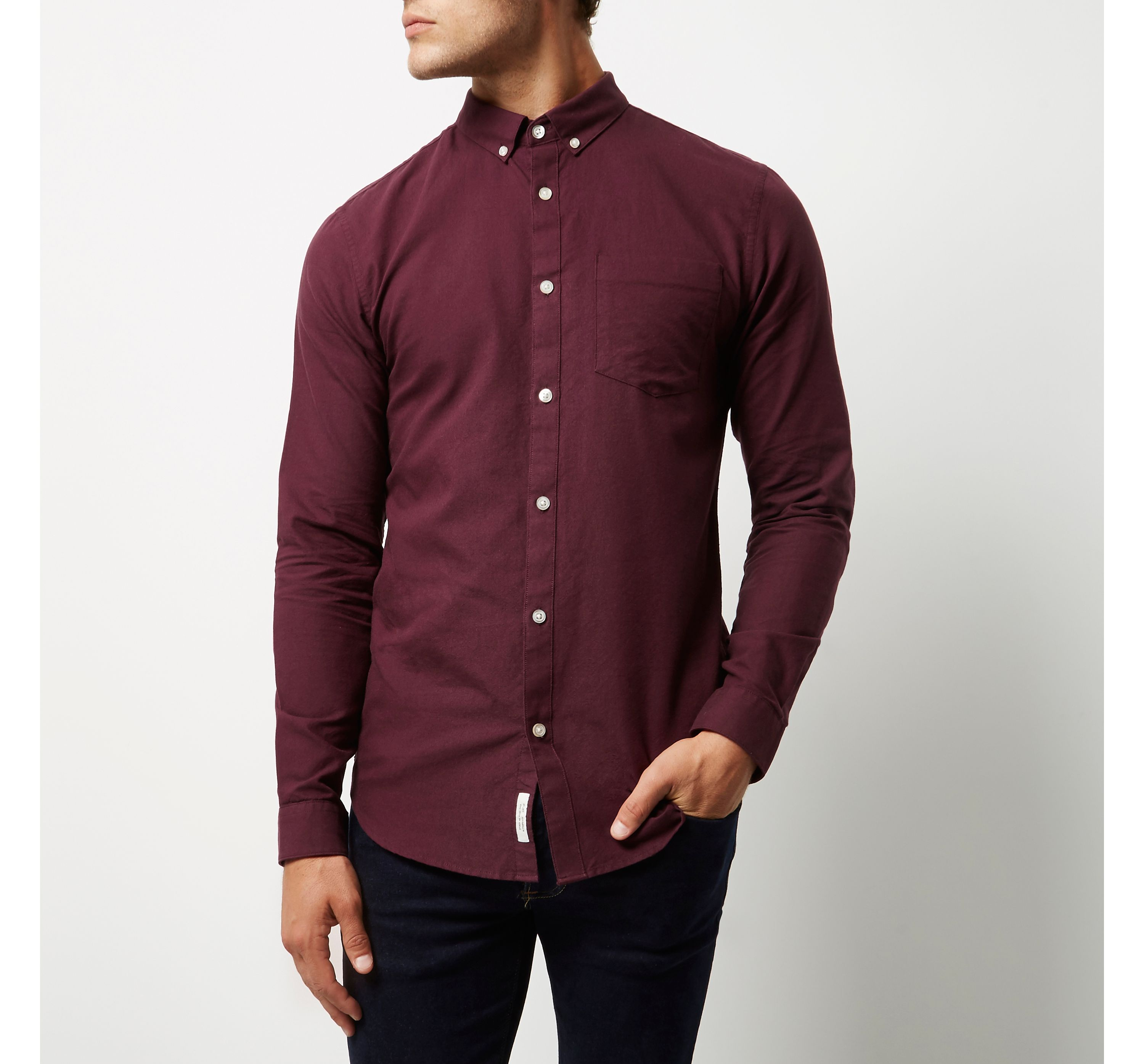 River Island Red Mens Berry casual slim fit Oxford shirt