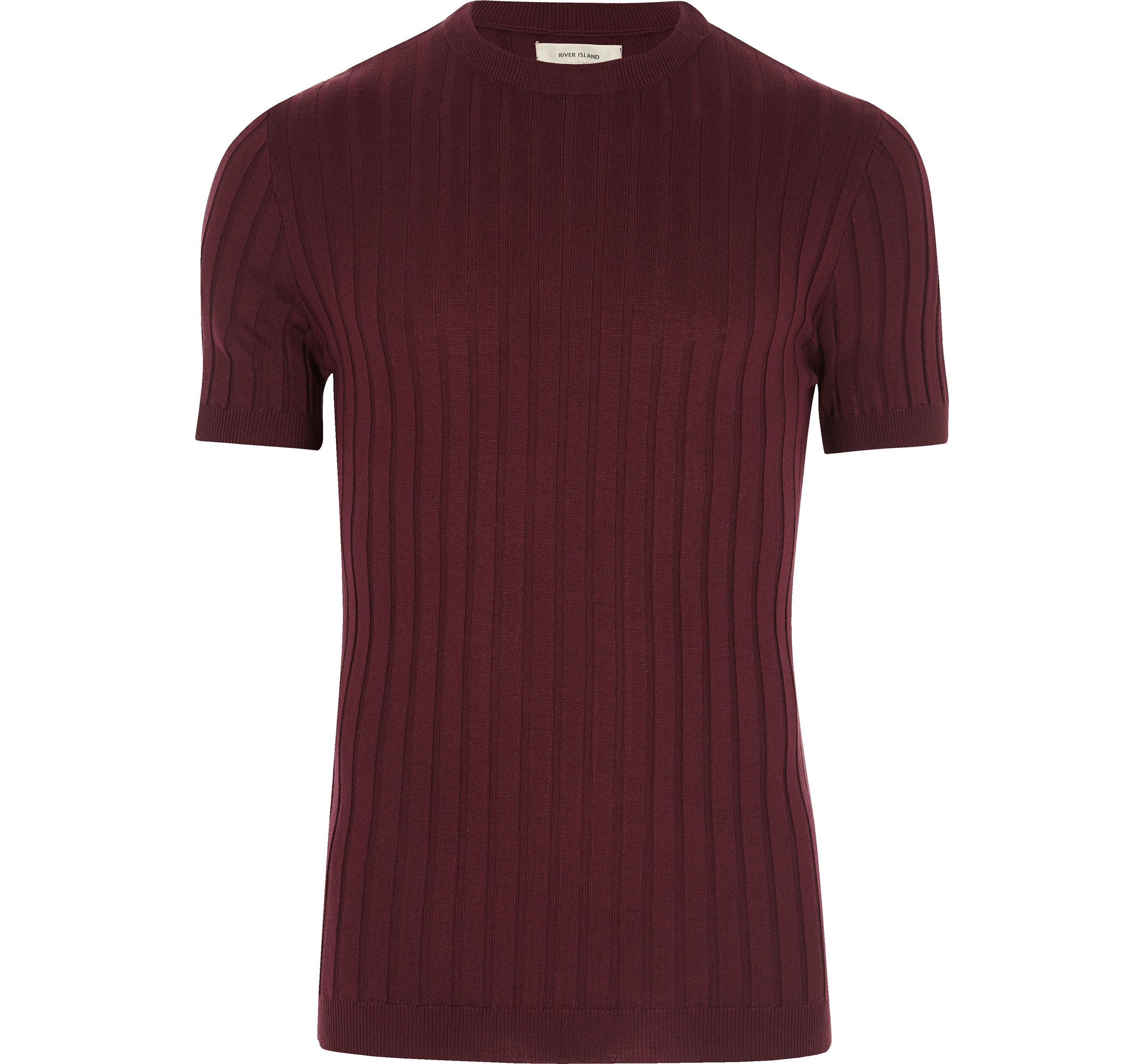 River Island Mens Dark Purple chunky ribbed muscle fit T-shirt
