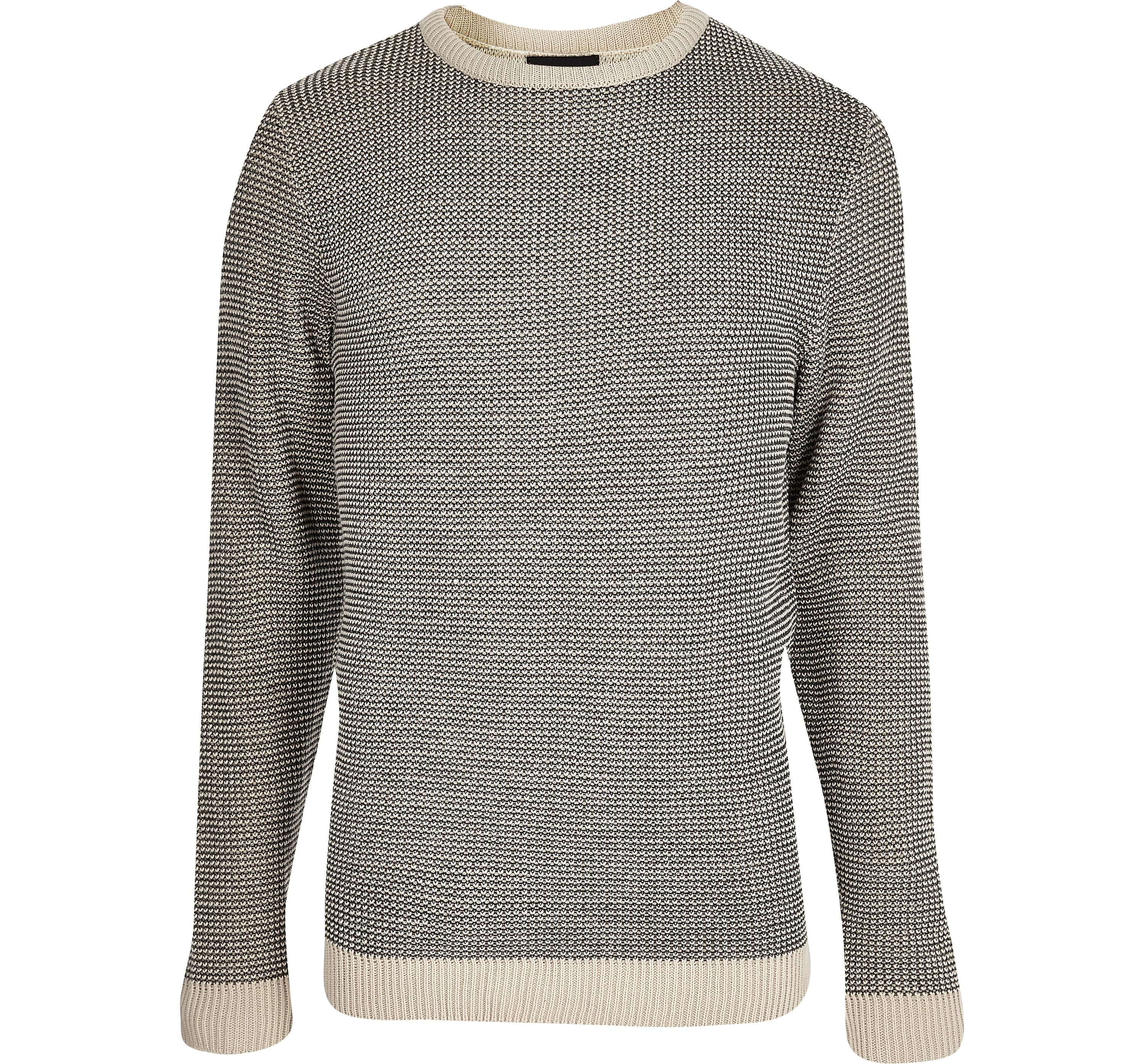 River Island Mens Grey and cream textured knit slim fit jumper