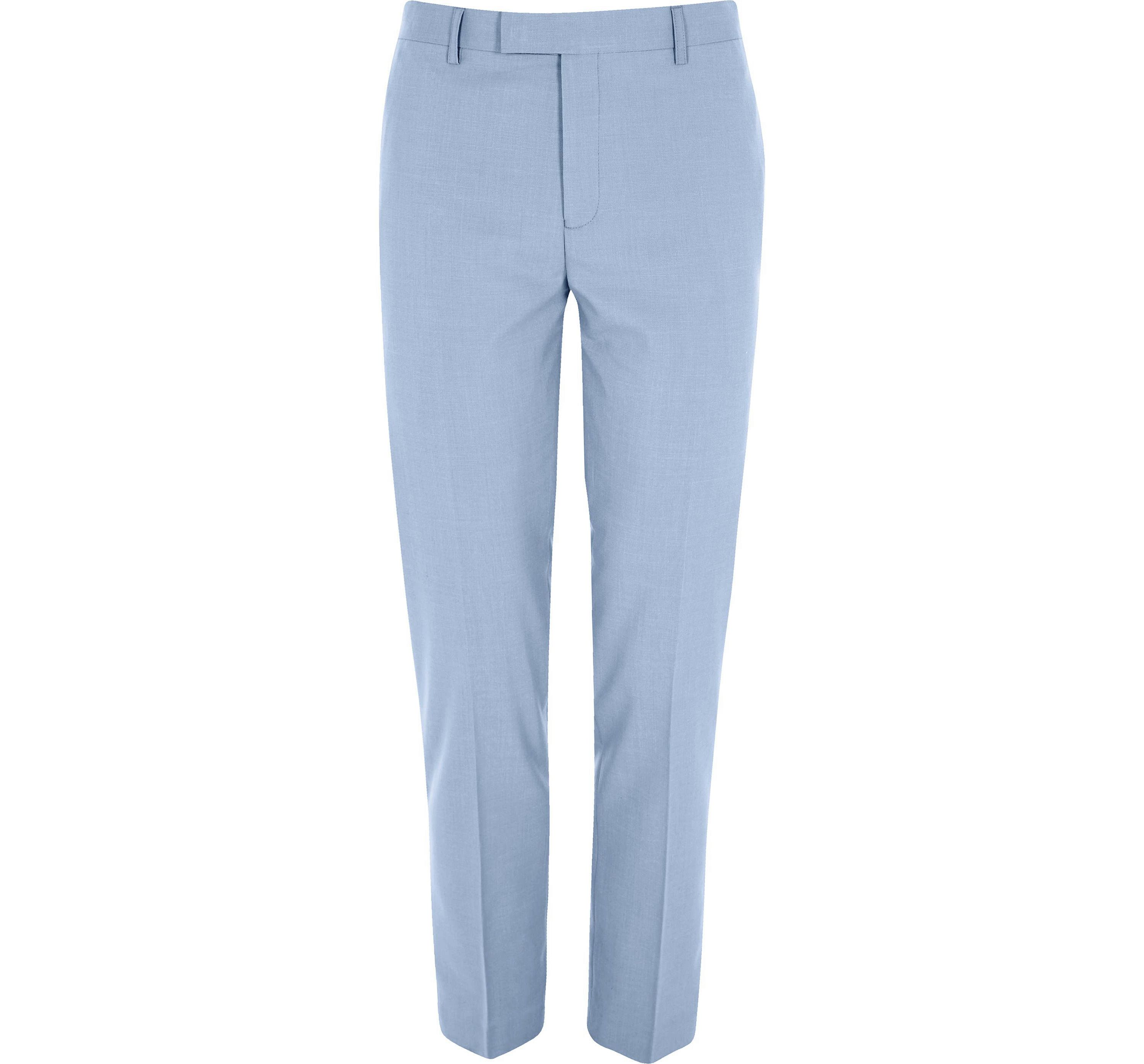 River Island Mens Blue skinny suit trousers