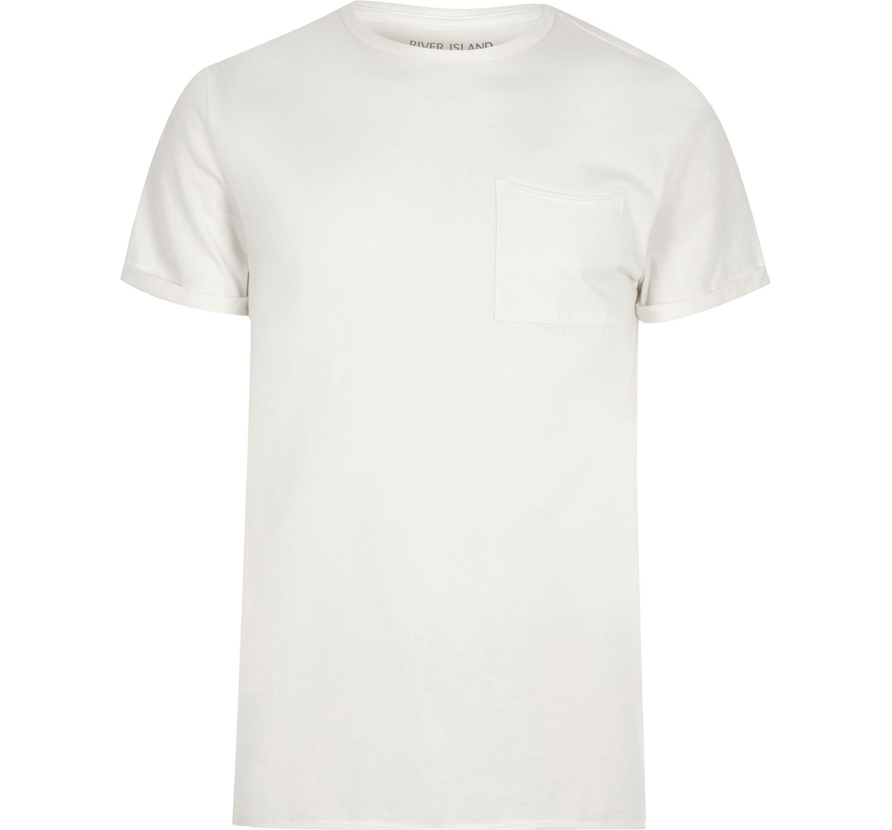 River Island Mens Cream washed crew neck slim fit T-shirt