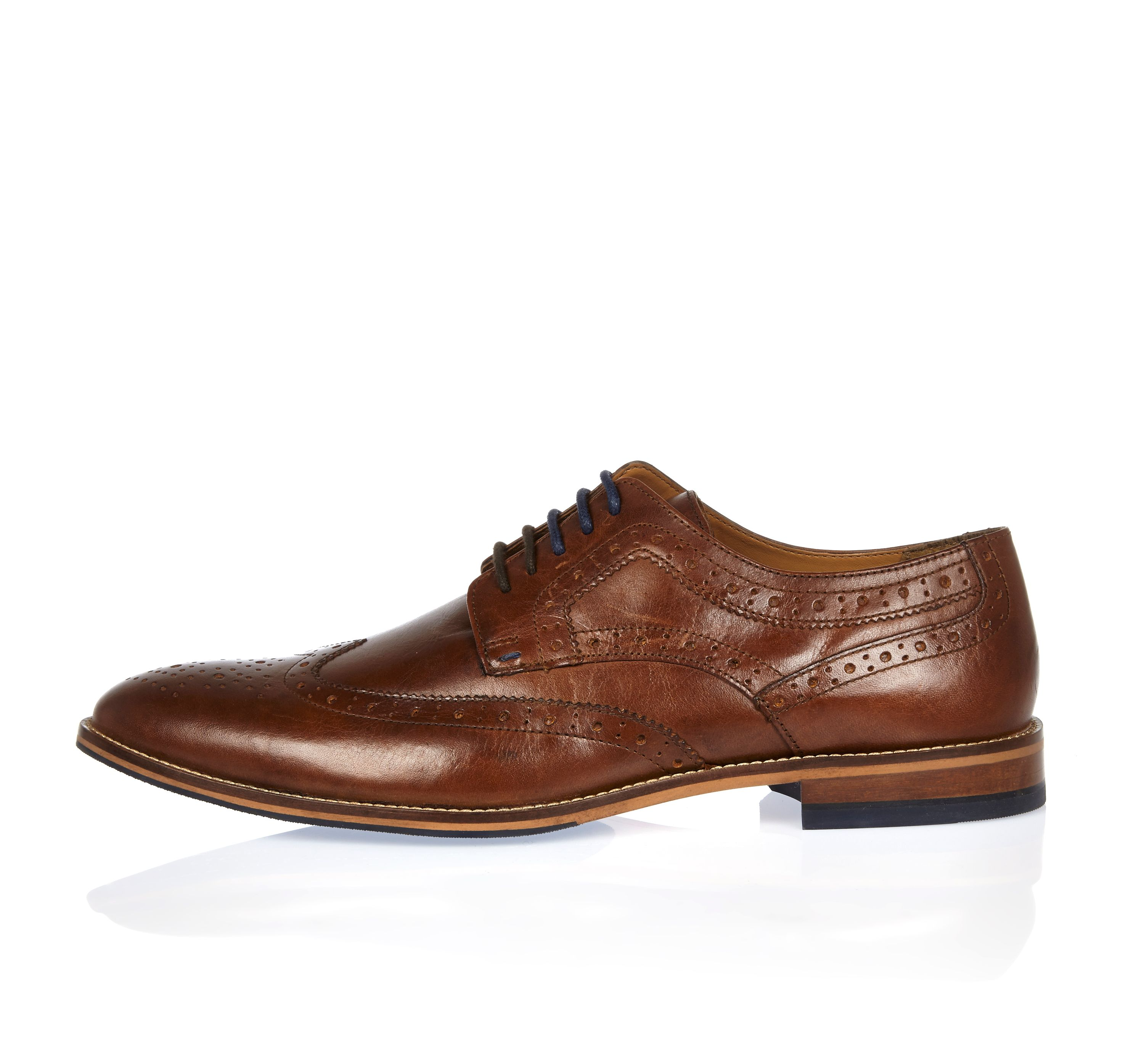 River Island Mens Brown leather contrast lace brogues