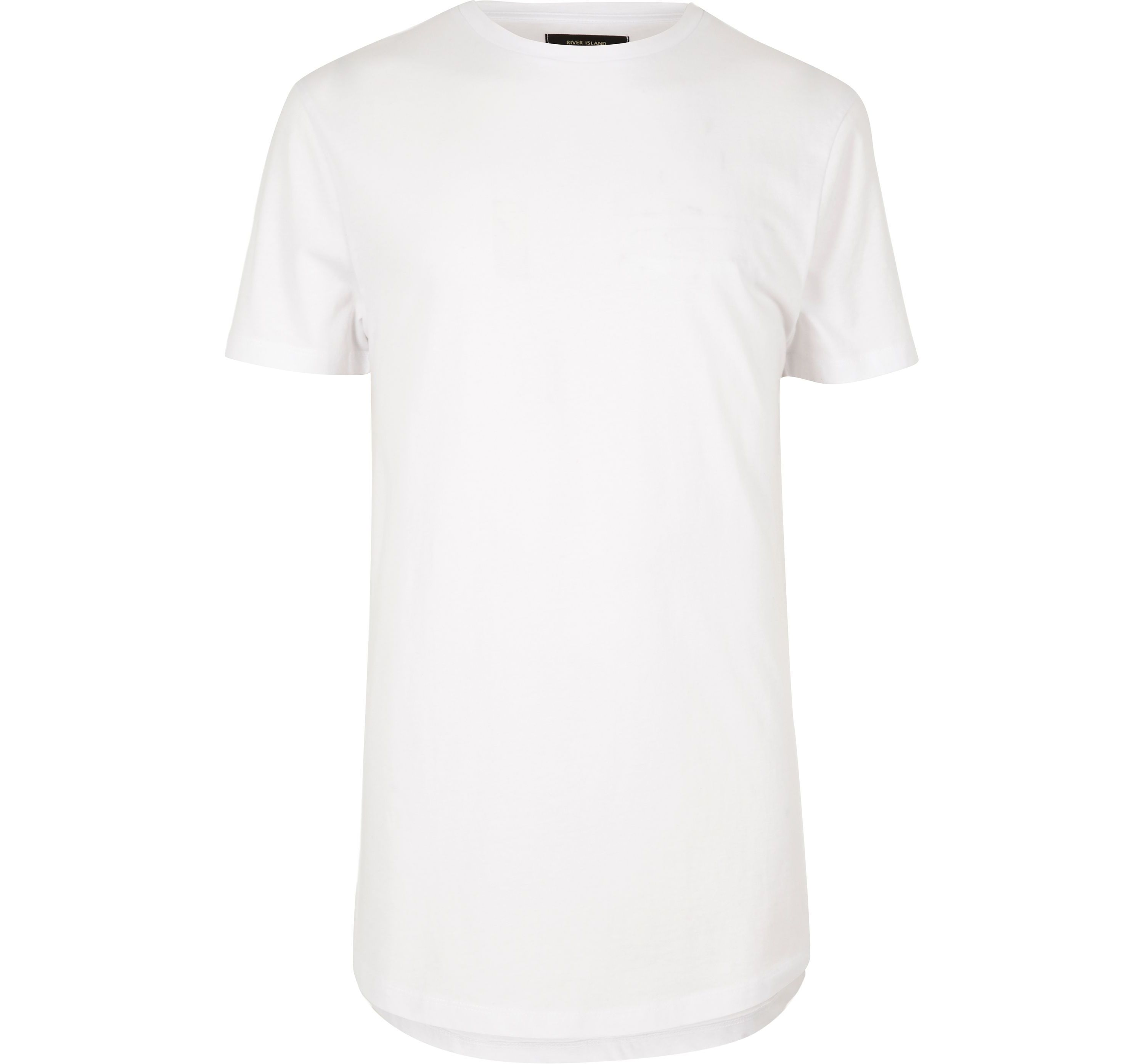 River Island Mens White curved hem longline T-shirt